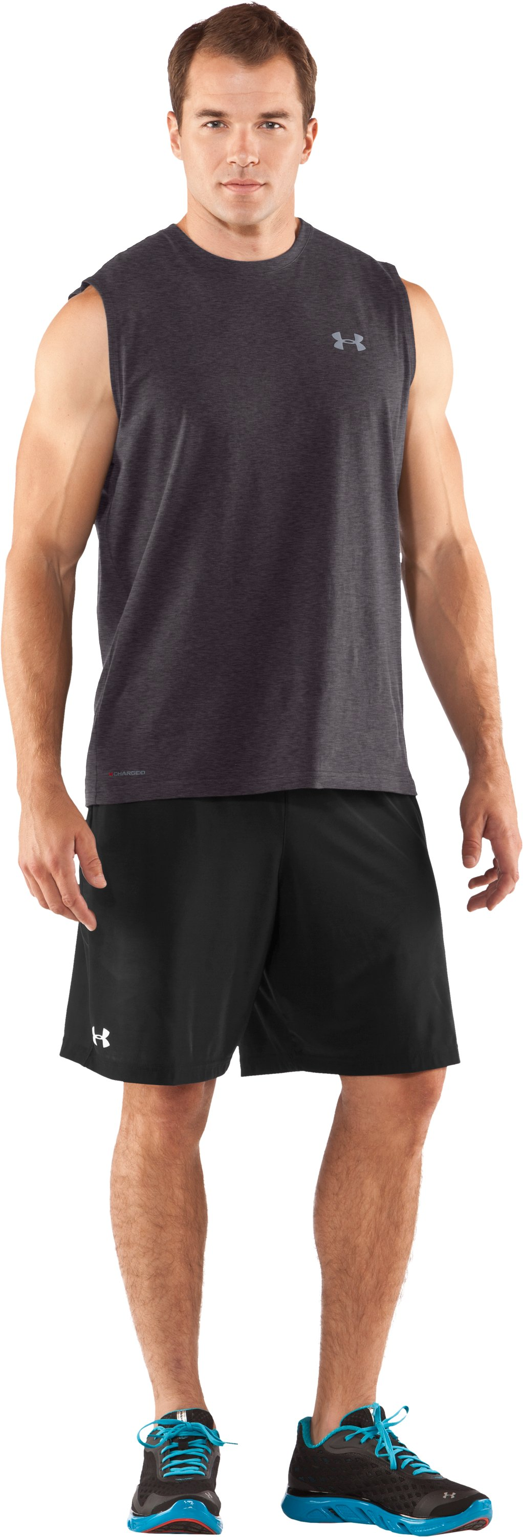 Men's Charged Cotton® Sleeveless T-shirt, Carbon Heather, Front