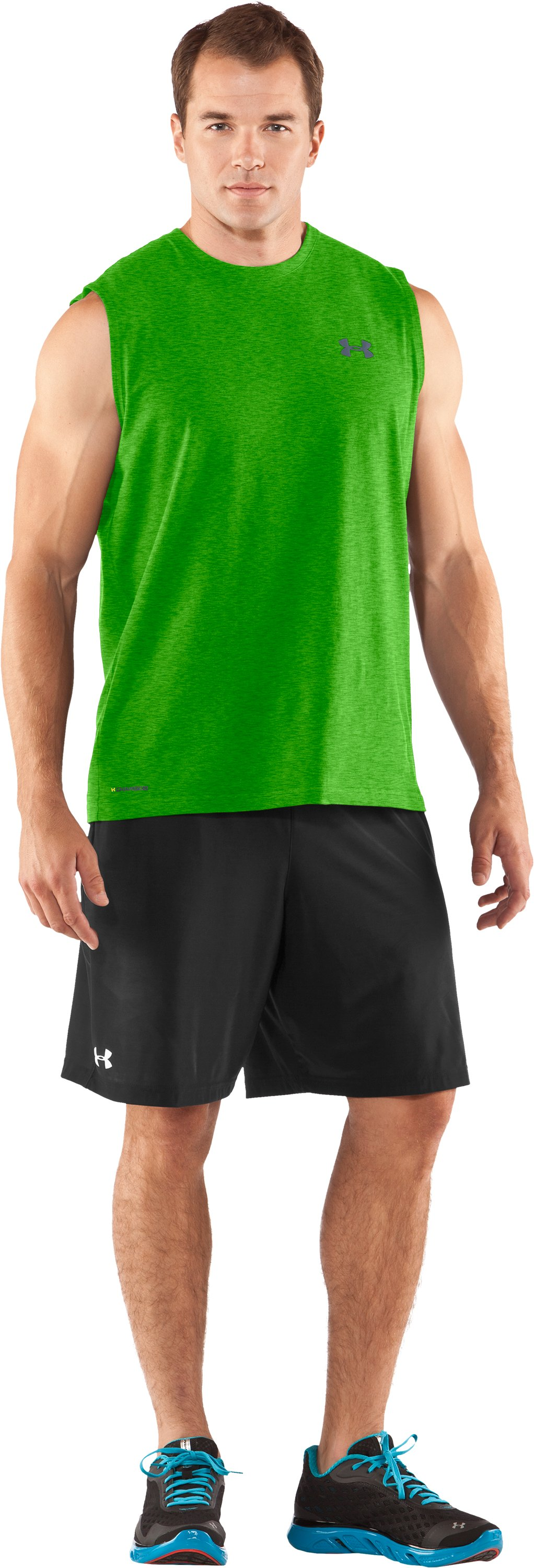 Men's Charged Cotton® Sleeveless T-shirt, PARROT GREEN, zoomed image