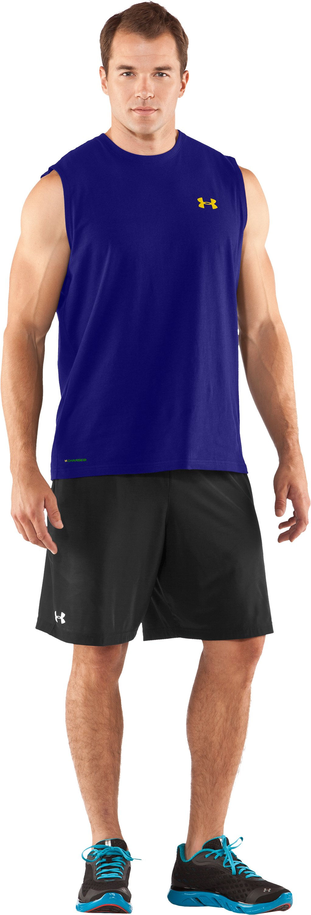 Men's Charged Cotton® Sleeveless T-shirt, Caspian, zoomed image