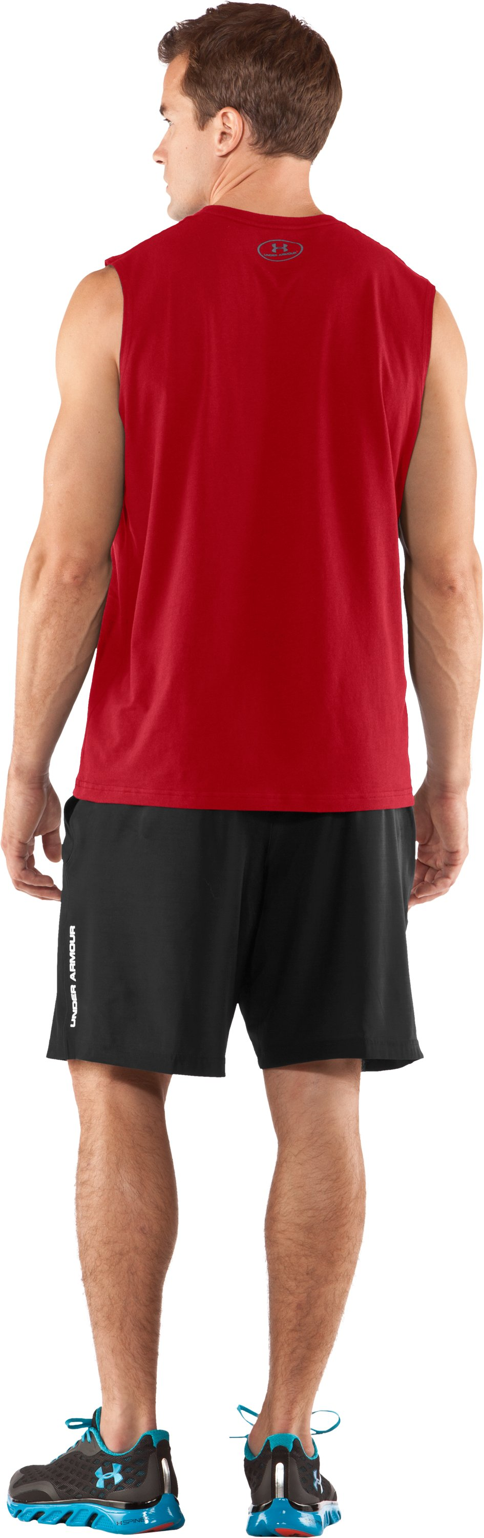 Men's Charged Cotton® Sleeveless T-shirt, Red, Back