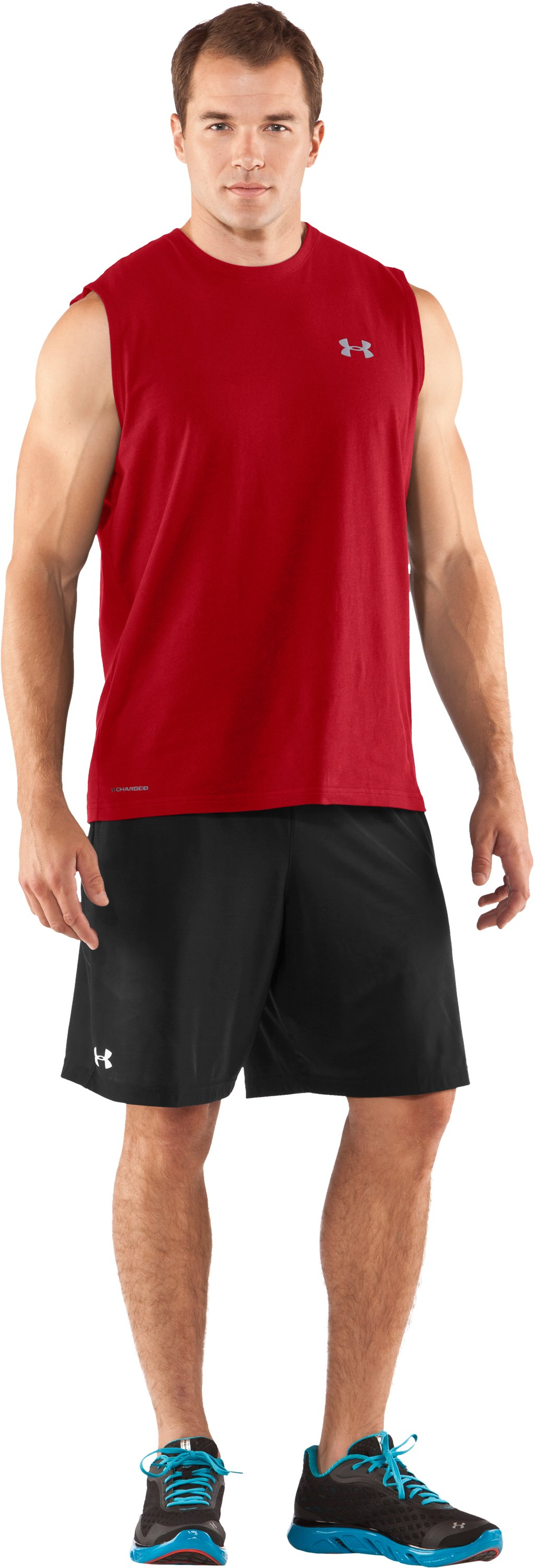 Men's Charged Cotton® Sleeveless T-shirt, Red, Front