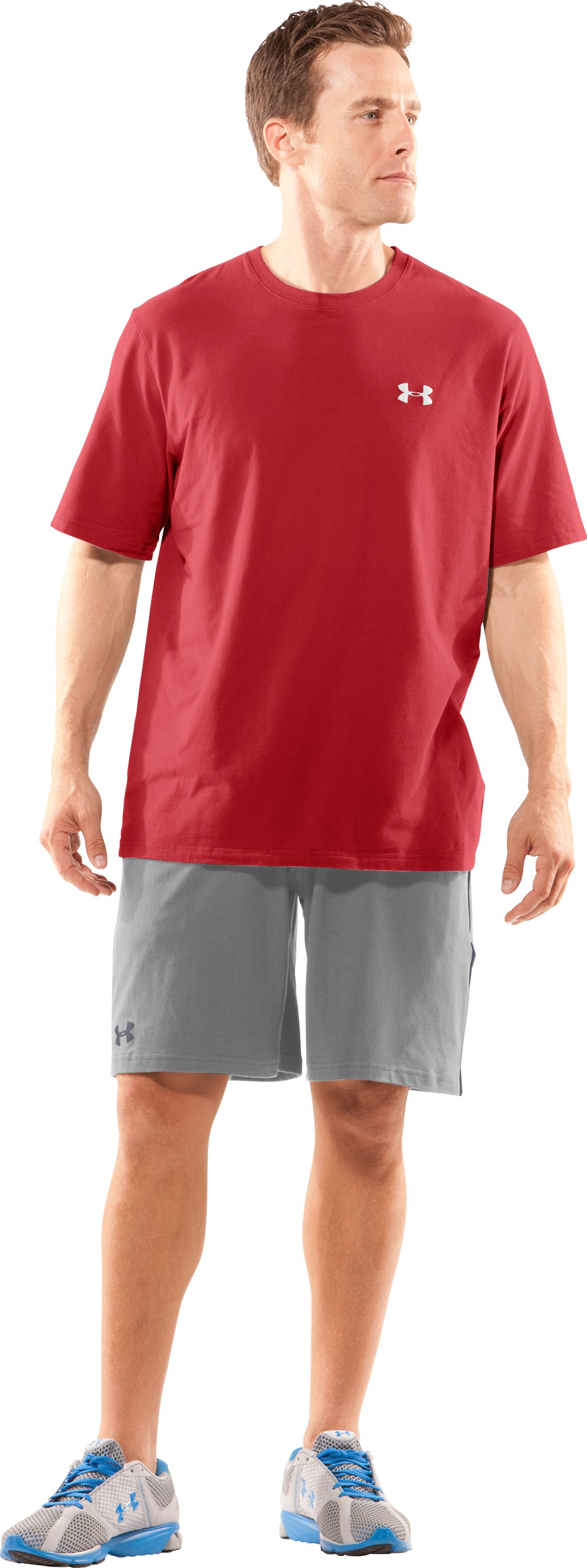 Men's UA Charged Cotton® Shorts, True Gray Heather, Front