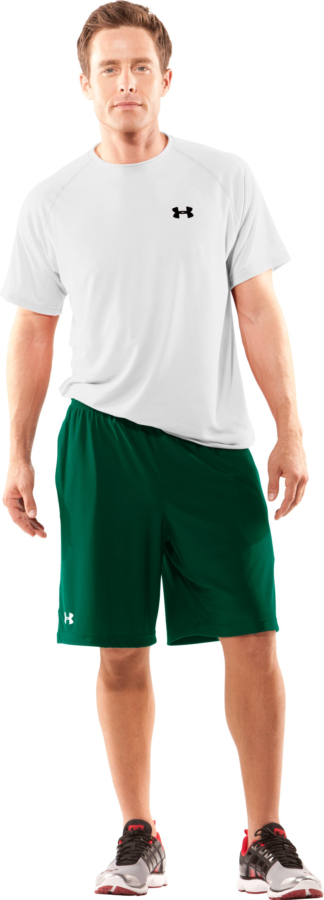 "Men's UA 9"" Microshorts II, Forest Green, Front"