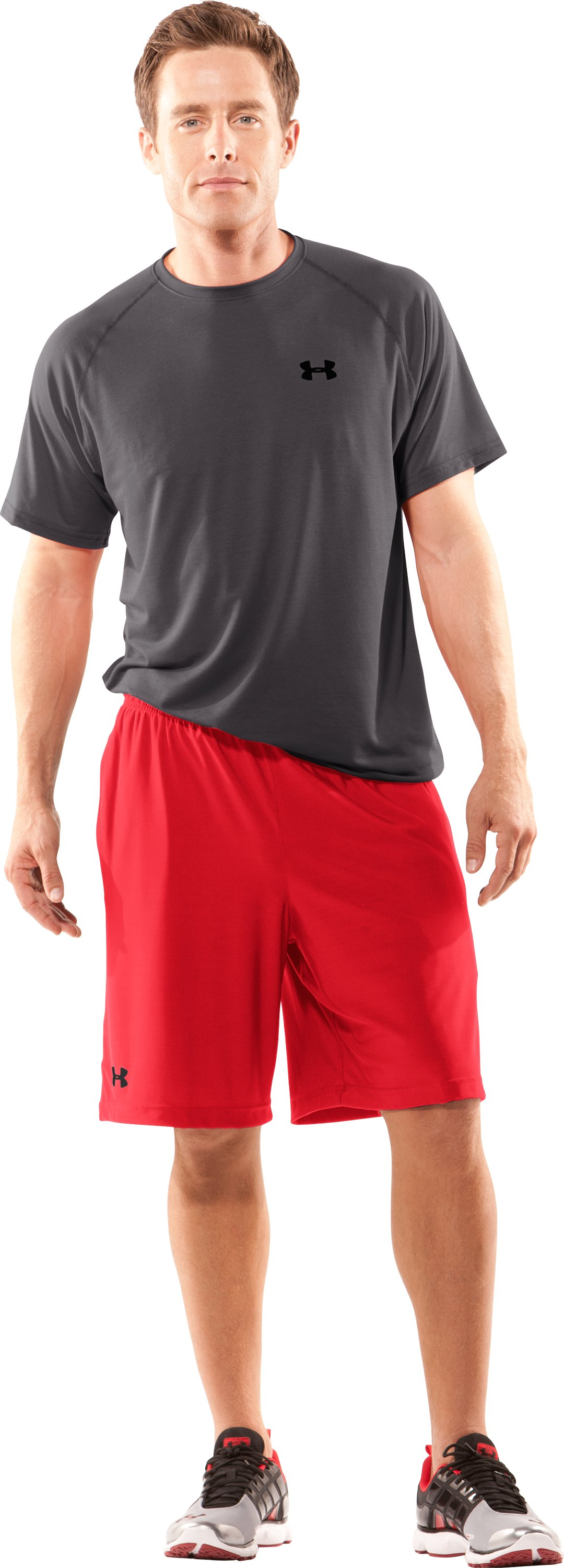 "Men's UA 9"" Microshorts II, Red, Front"