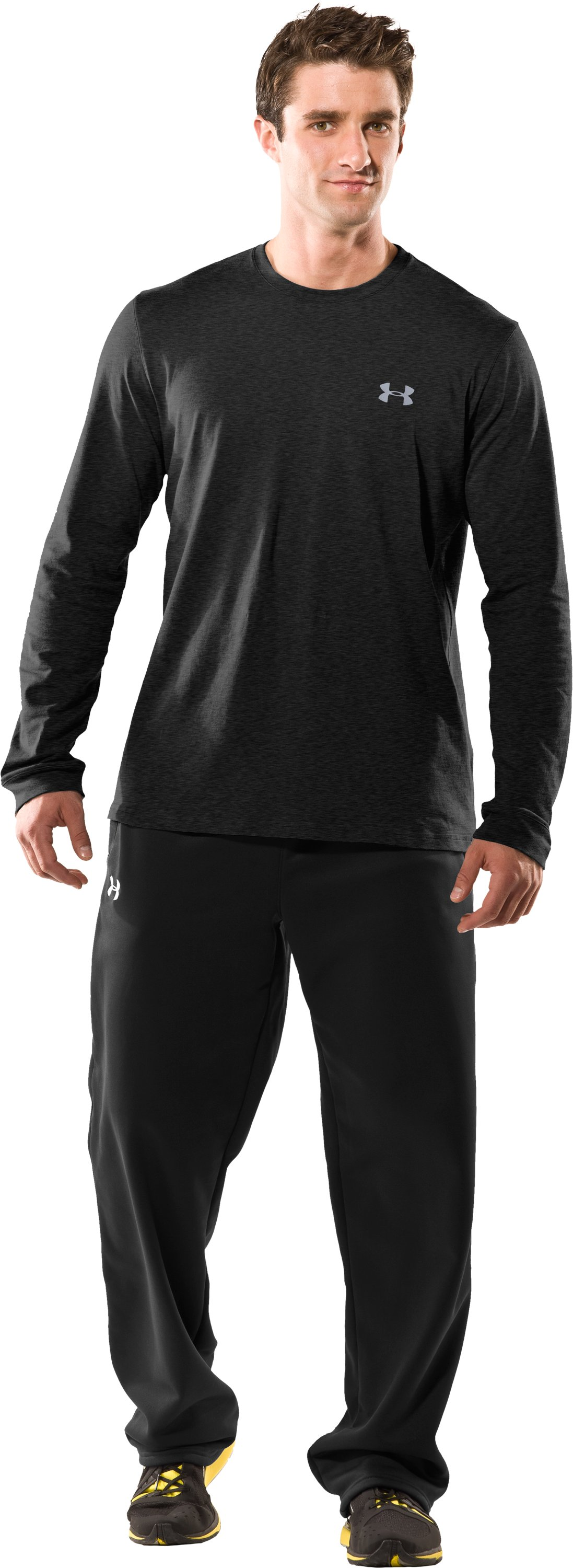 Men's UA Charged Cotton® Long Sleeve T-Shirt, Asphalt Heather, Front