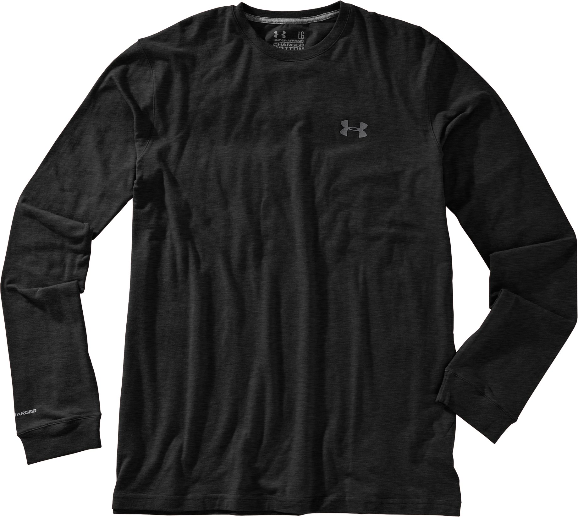 Men's UA Charged Cotton® Long Sleeve T-Shirt, Asphalt Heather, Laydown