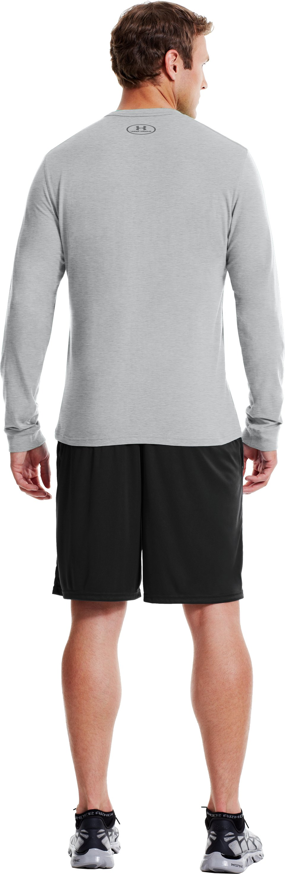 Men's UA Charged Cotton® Long Sleeve T-Shirt, True Gray Heather, Back