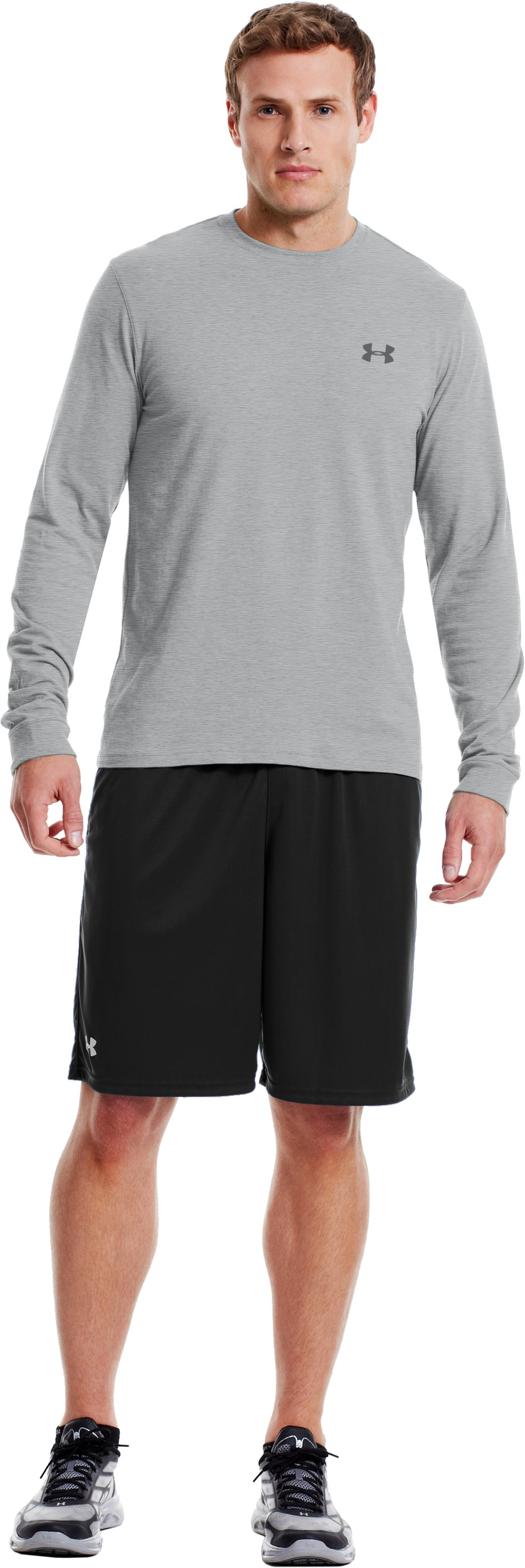 Men's UA Charged Cotton® Long Sleeve T-Shirt, True Gray Heather, Front