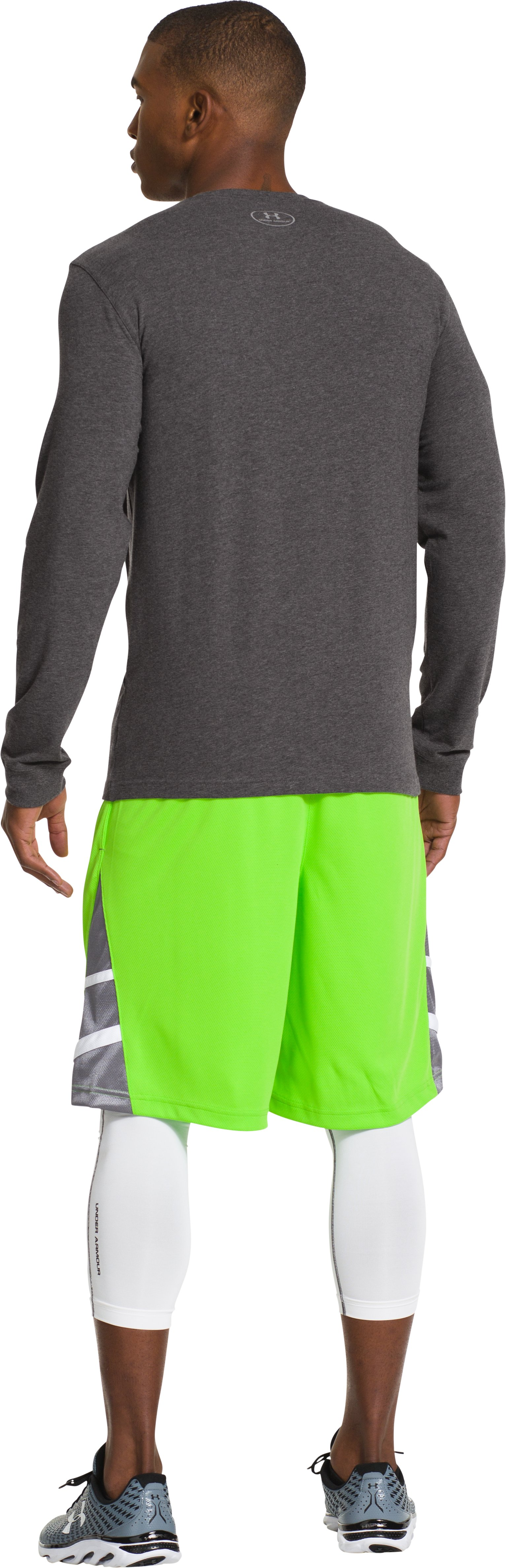 Men's UA Charged Cotton® Long Sleeve T-Shirt, Carbon Heather, Back