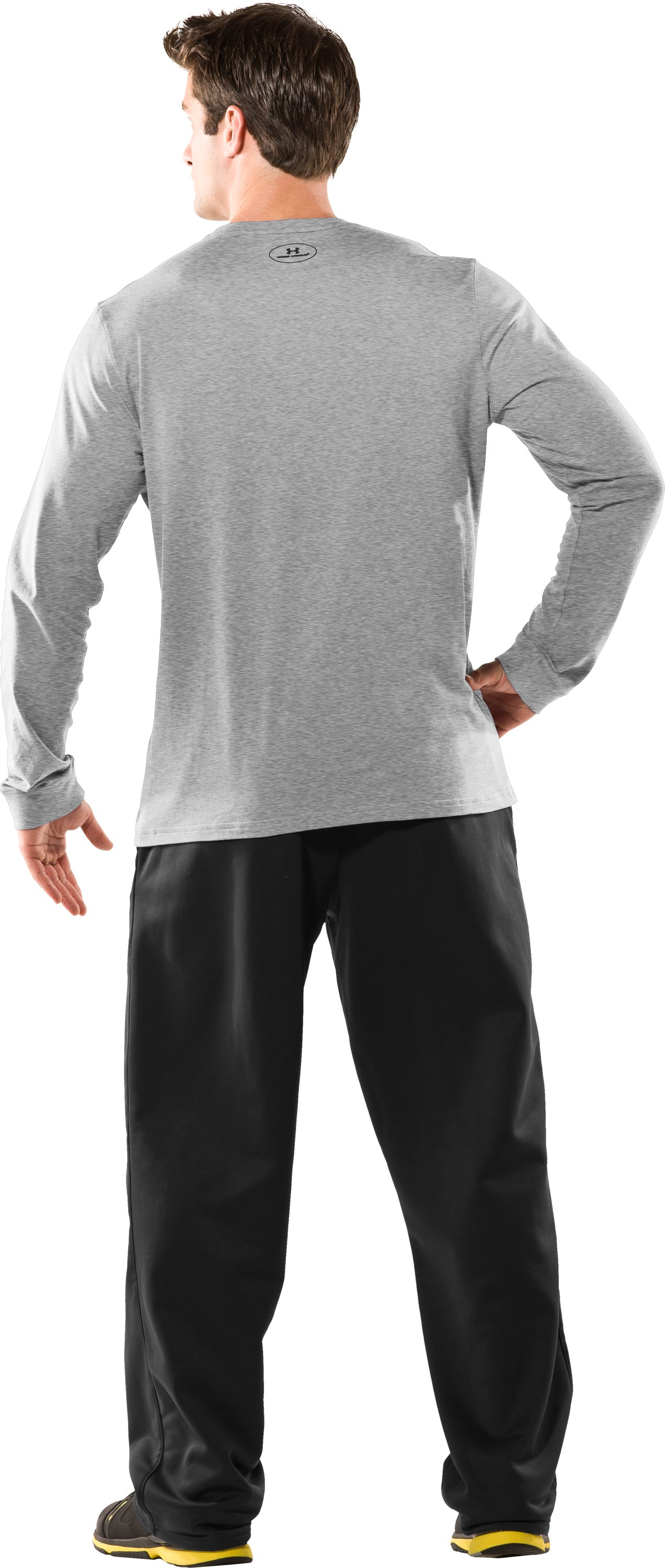 Men's UA Charged Cotton® Long Sleeve T-Shirt, Silver Heather, Back