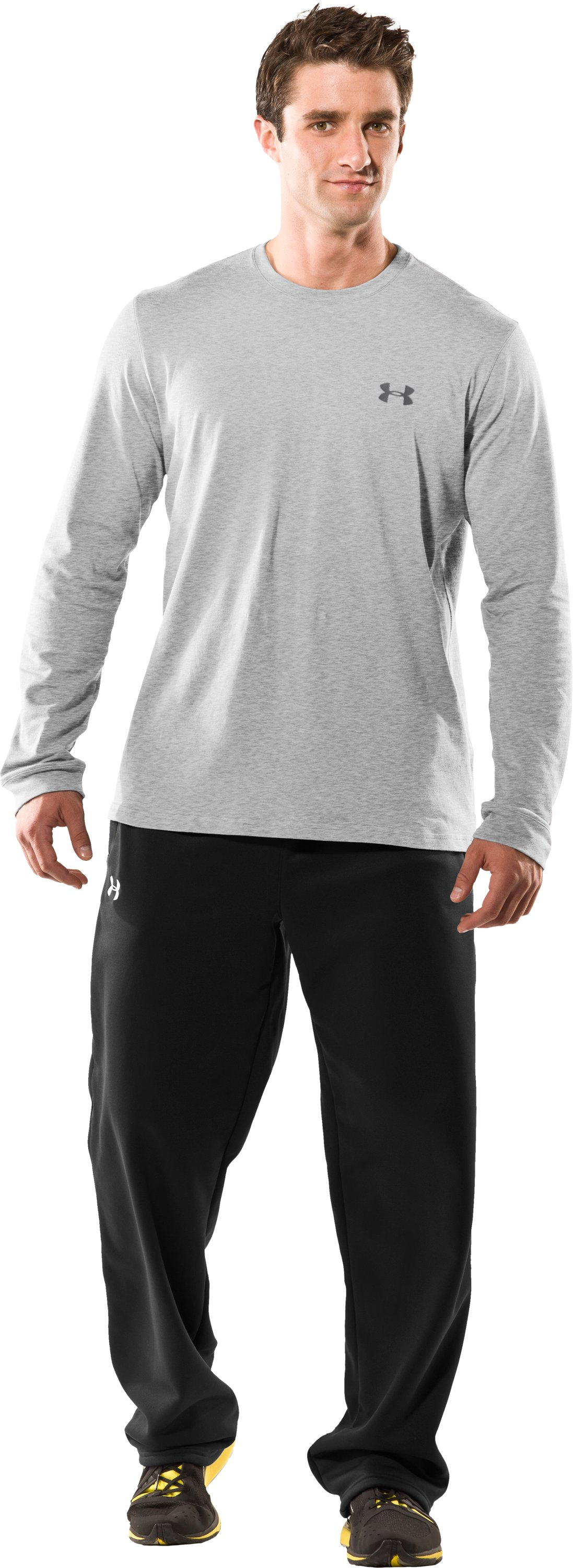 Men's UA Charged Cotton® Long Sleeve T-Shirt, Silver Heather, Front