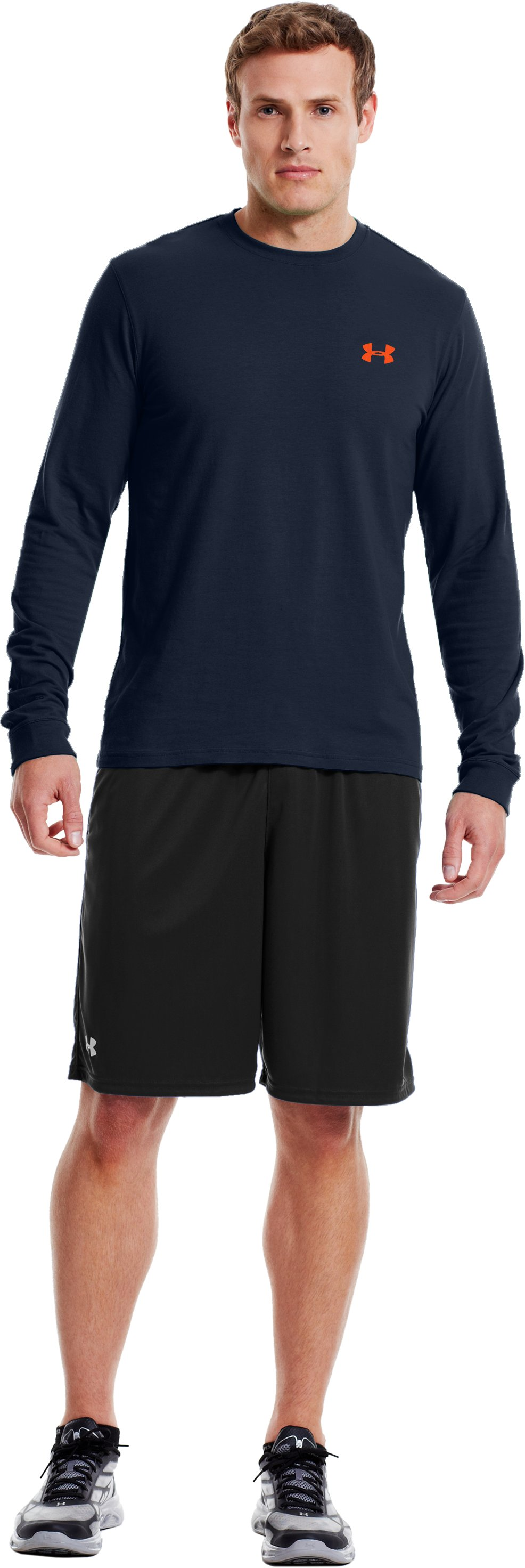 Men's UA Charged Cotton® Long Sleeve T-Shirt, Cadet, Front