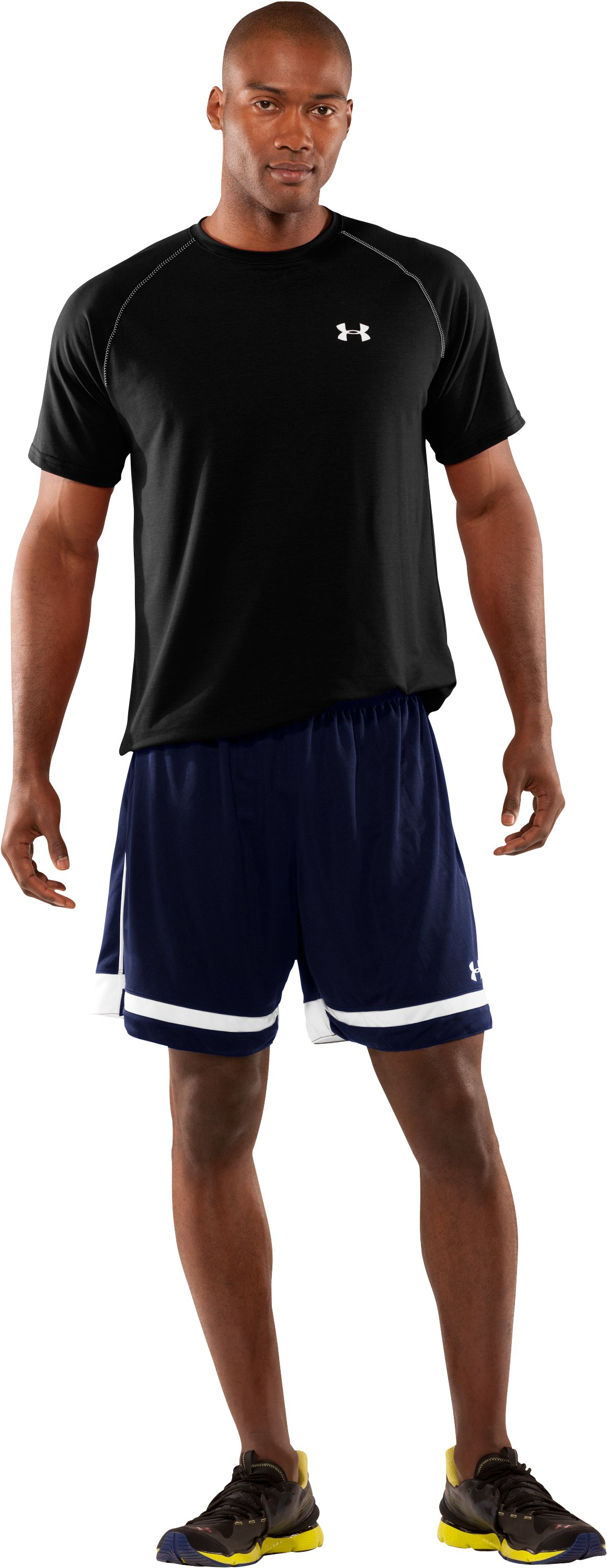 Men's UA Introducta Shorts, Midnight Navy, Front