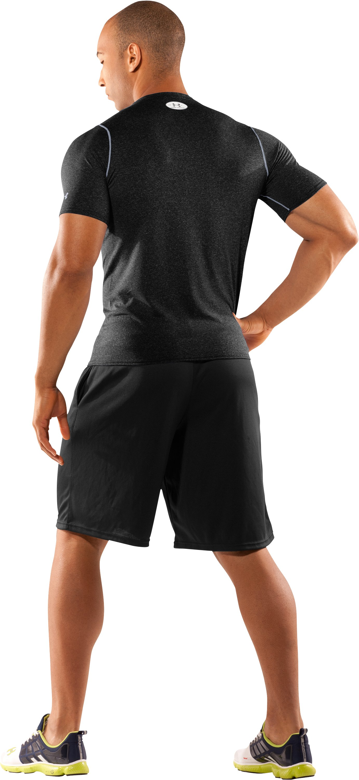 Men's UA HeatGear® Touch Fitted Short Sleeve Crew, Black , Back