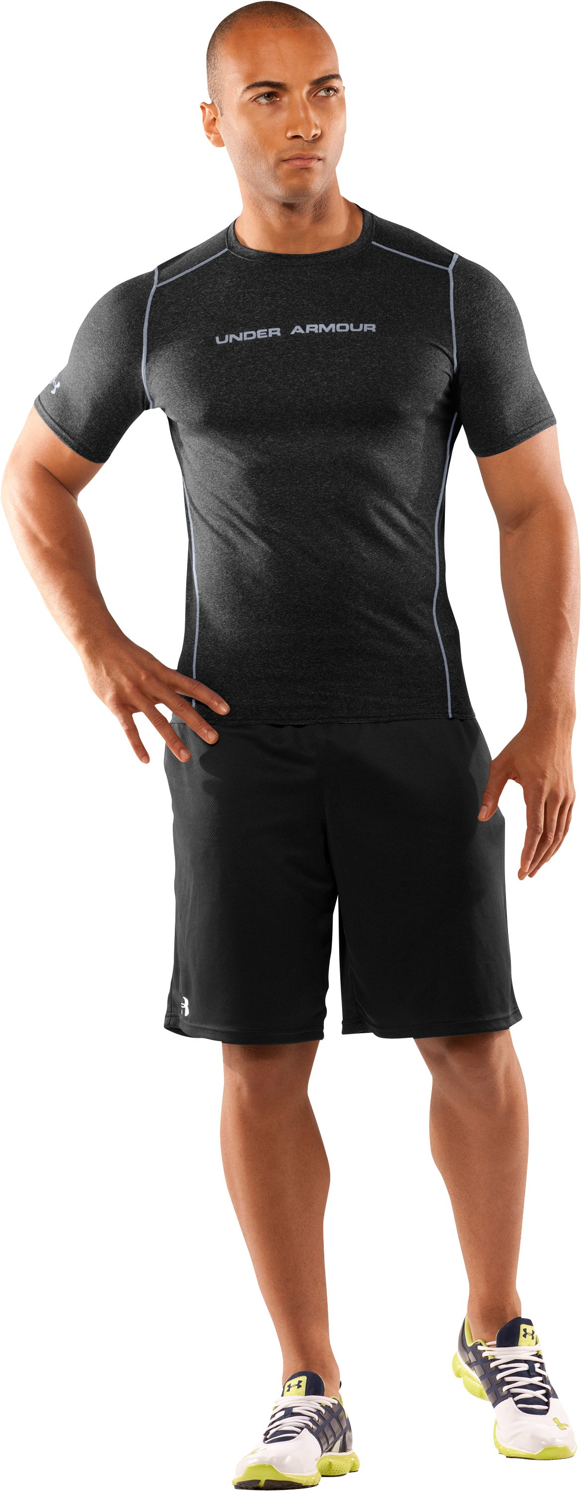 Men's UA HeatGear® Touch Fitted Short Sleeve Crew, Black , Front