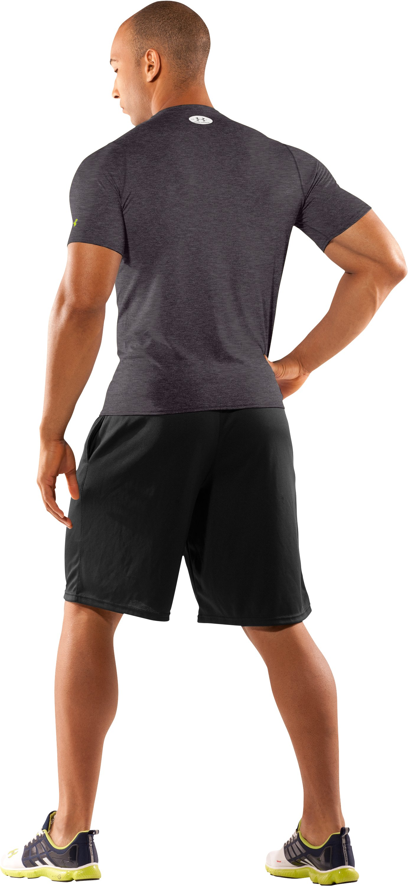 Men's UA HeatGear® Touch Fitted Short Sleeve Crew, Carbon Heather, Back