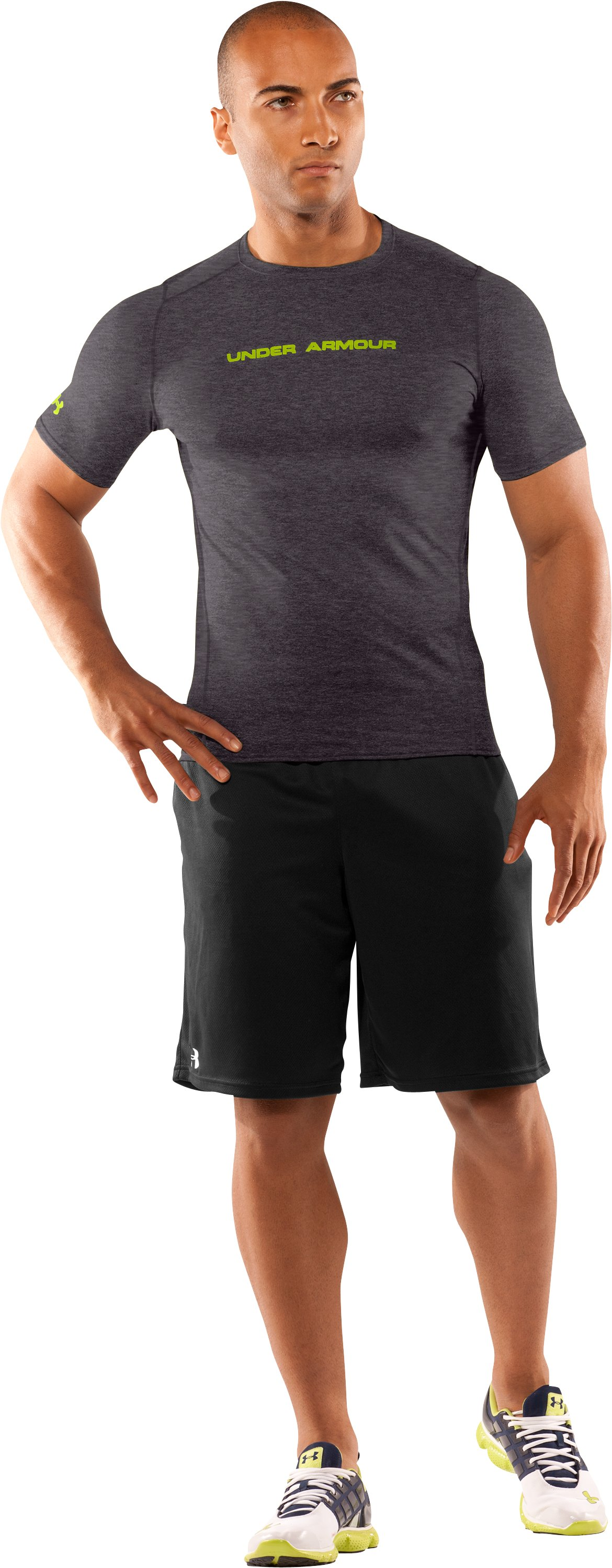 Men's UA HeatGear® Touch Fitted Short Sleeve Crew, Carbon Heather, Front