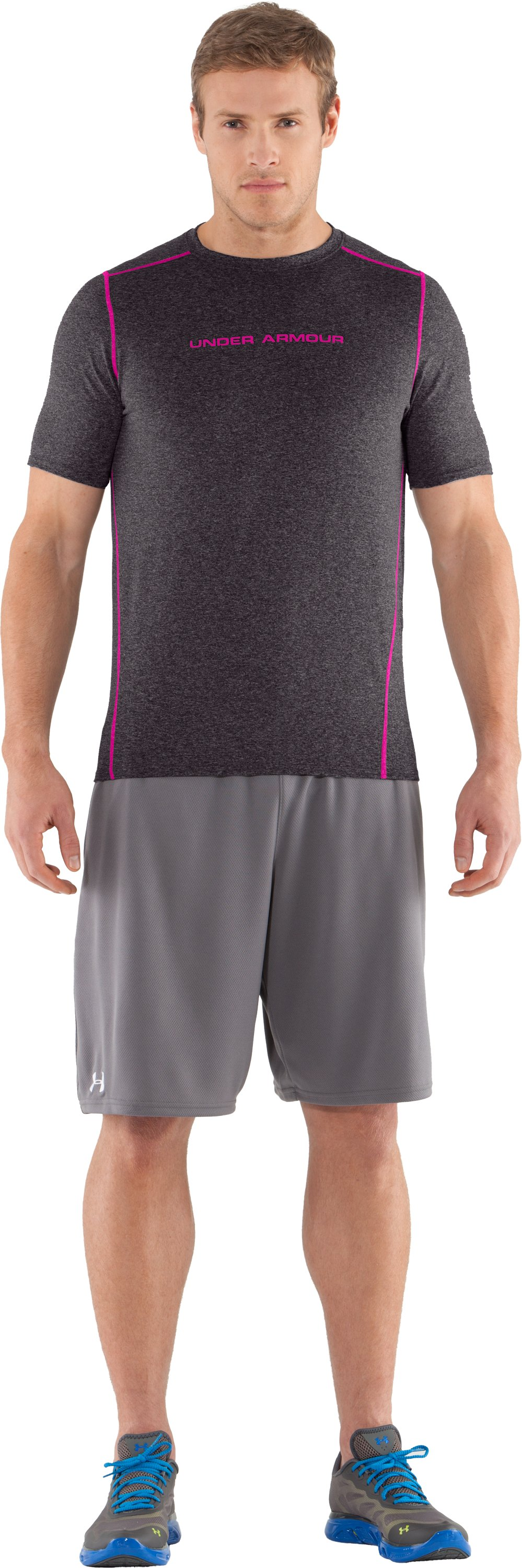 Men's UA HeatGear® Touch Fitted Short Sleeve Crew, Carbon Heather, zoomed image