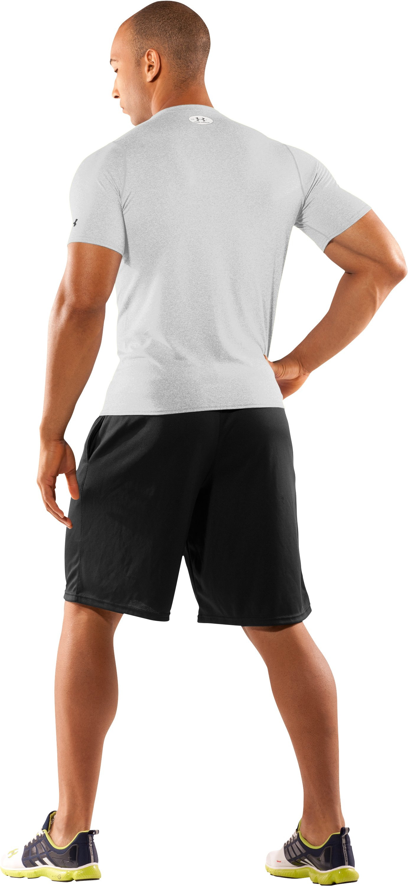 Men's UA HeatGear® Touch Fitted Short Sleeve Crew, White, Back