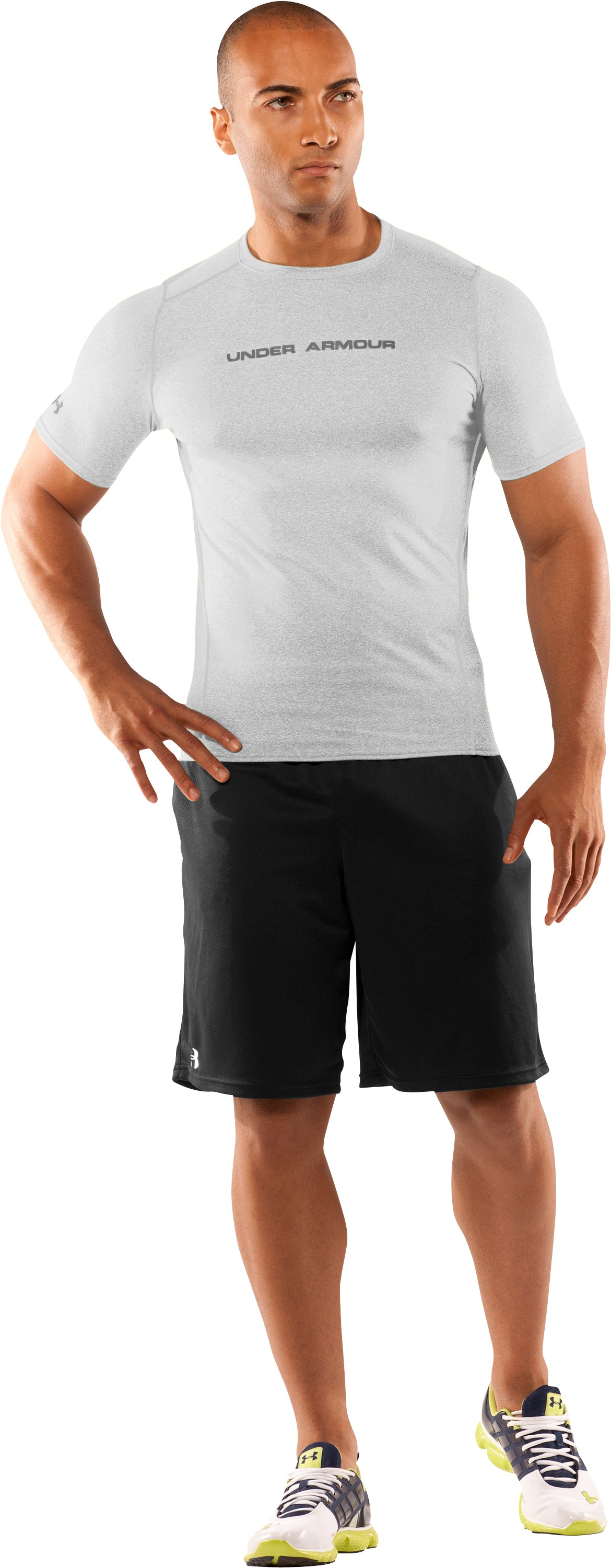 Men's UA HeatGear® Touch Fitted Short Sleeve Crew, White, zoomed image