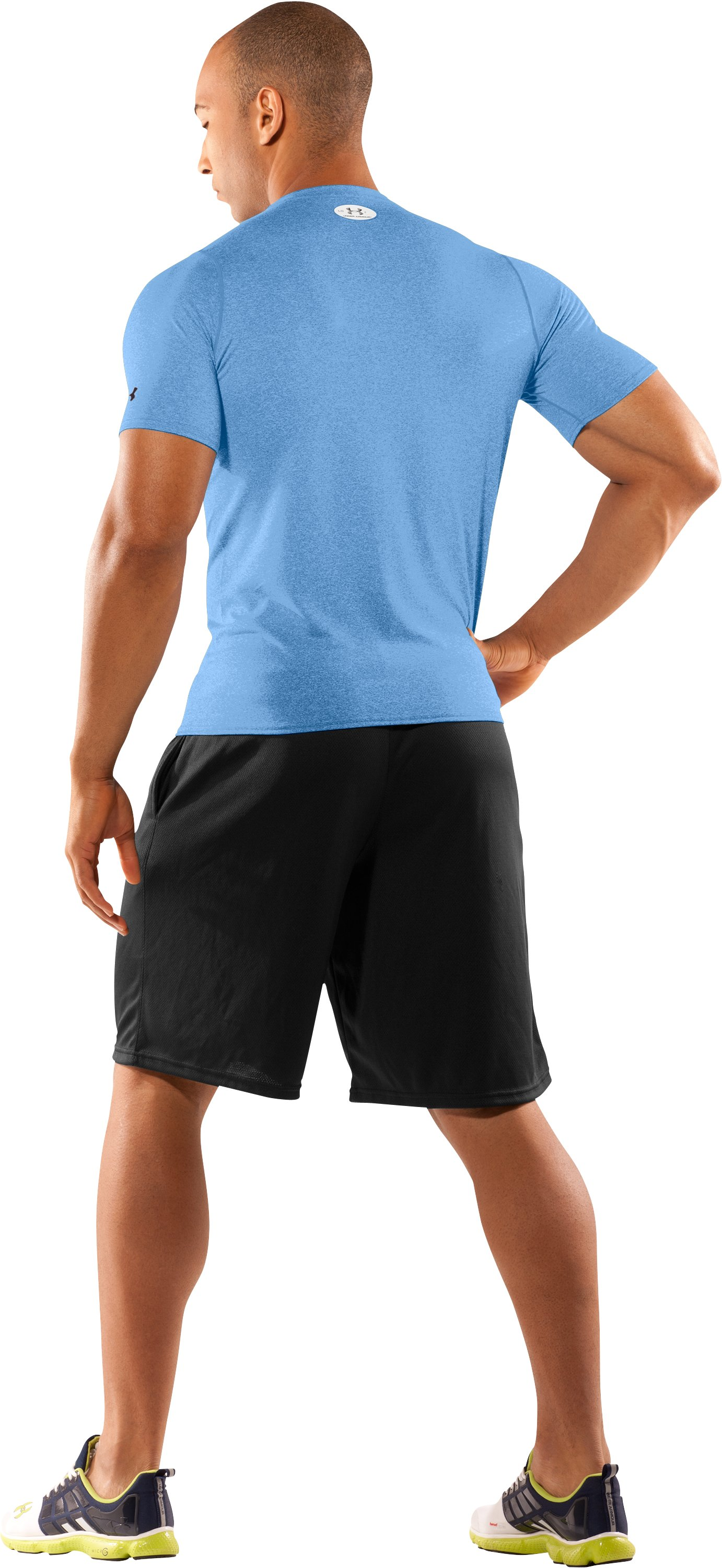Men's UA HeatGear® Touch Fitted Short Sleeve Crew, Carolina Blue, Back