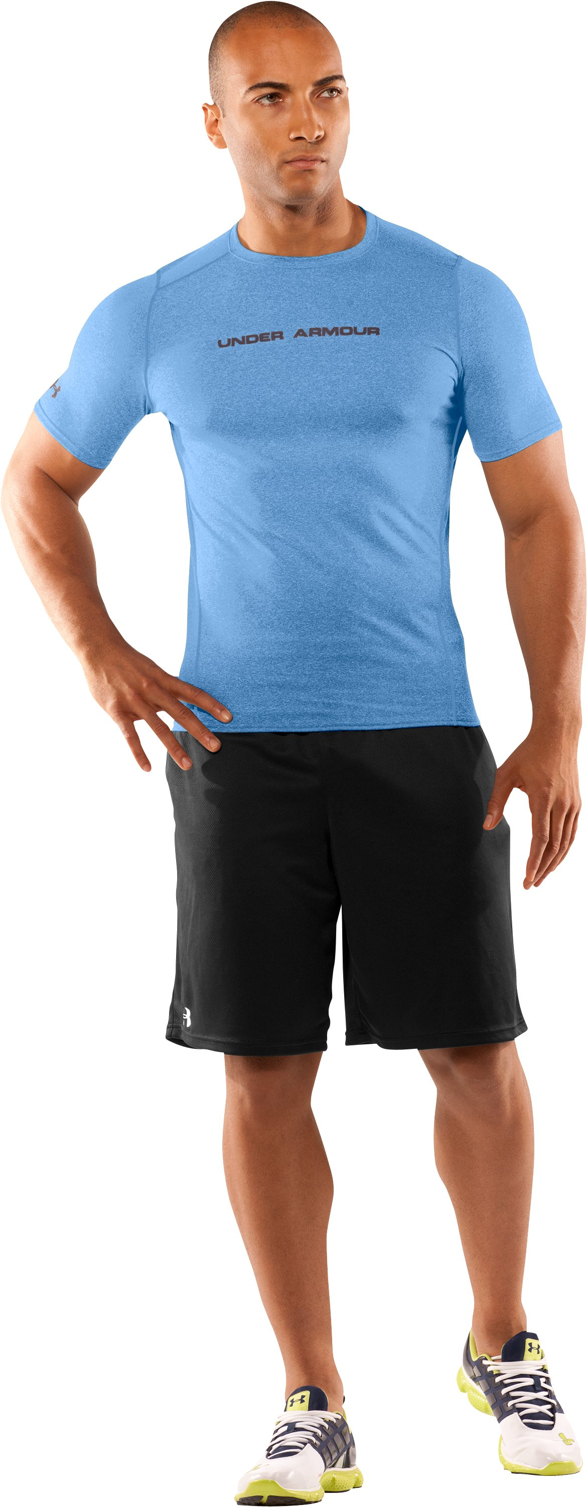 Men's UA HeatGear® Touch Fitted Short Sleeve Crew, Carolina Blue, Front