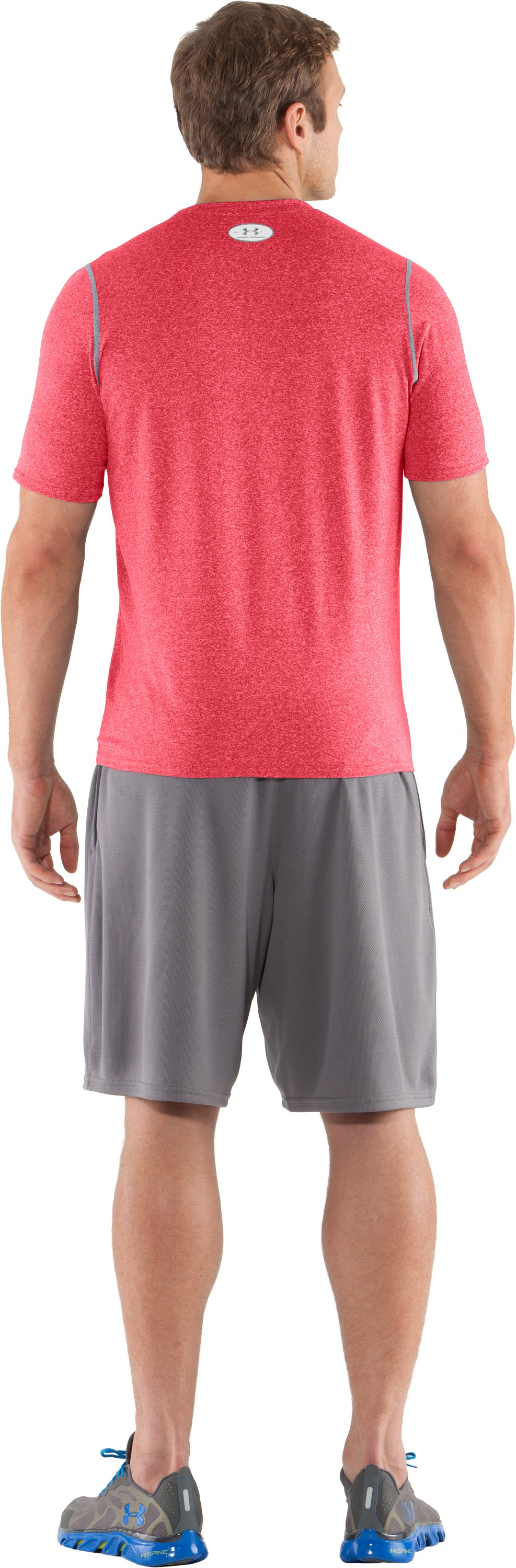 Men's UA HeatGear® Touch Fitted Short Sleeve Crew, Red, Back