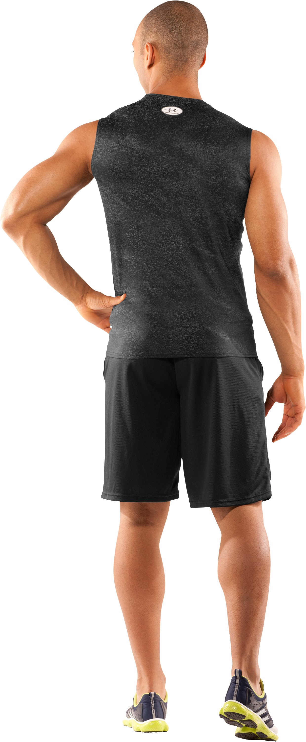 Men's UA HeatGear® Touch Fitted Sleeveless Crew, Black , Back