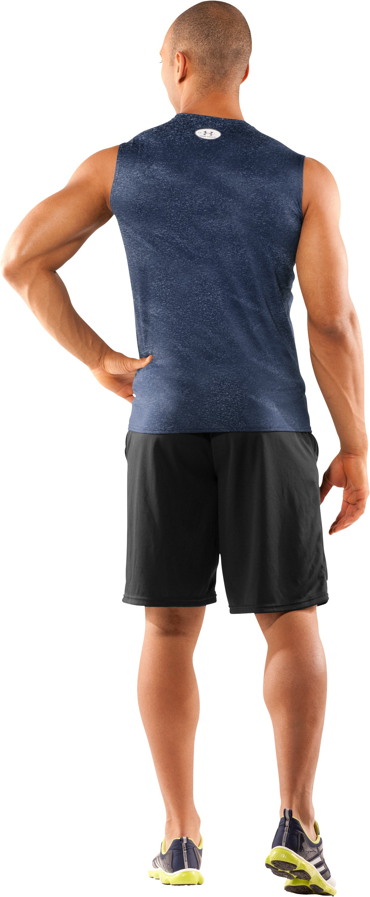 Men's UA HeatGear® Touch Fitted Sleeveless Crew, Midnight Navy, Back
