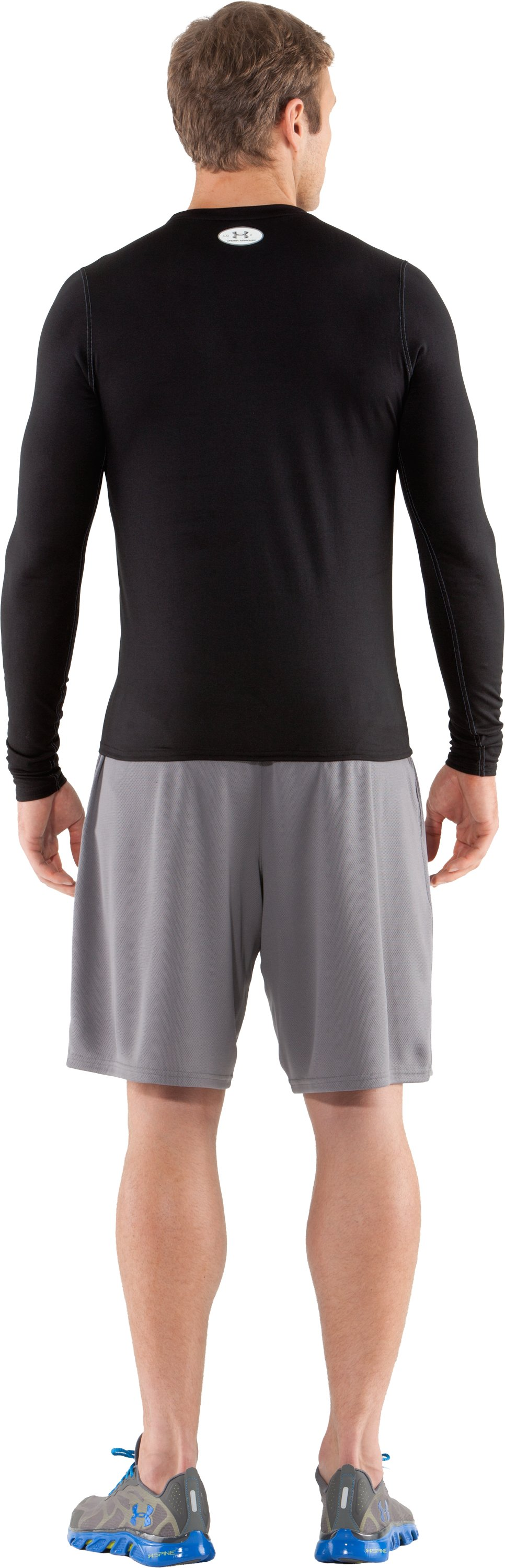 Men's UA HeatGear® Touch Fitted Long Sleeve Crew, Black , Back