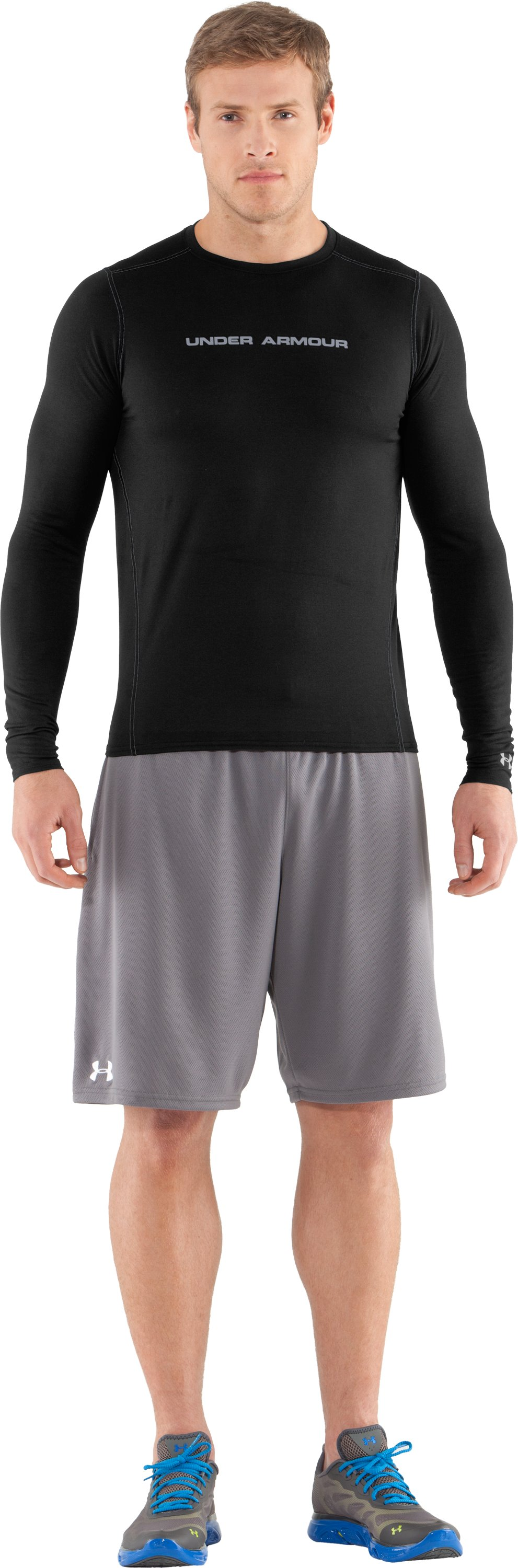Men's UA HeatGear® Touch Fitted Long Sleeve Crew, Black , Front