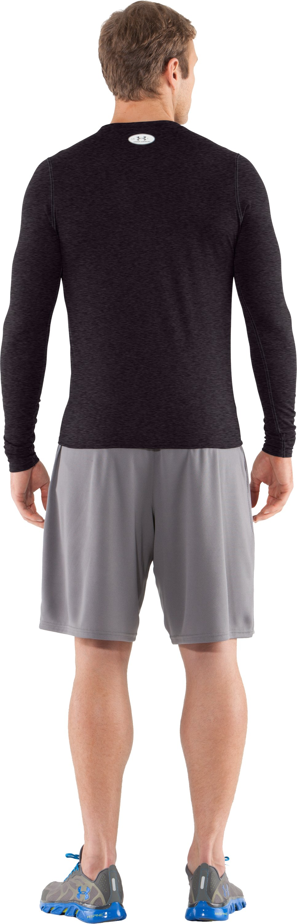 Men's UA HeatGear® Touch Fitted Long Sleeve Crew, Carbon Heather, Back