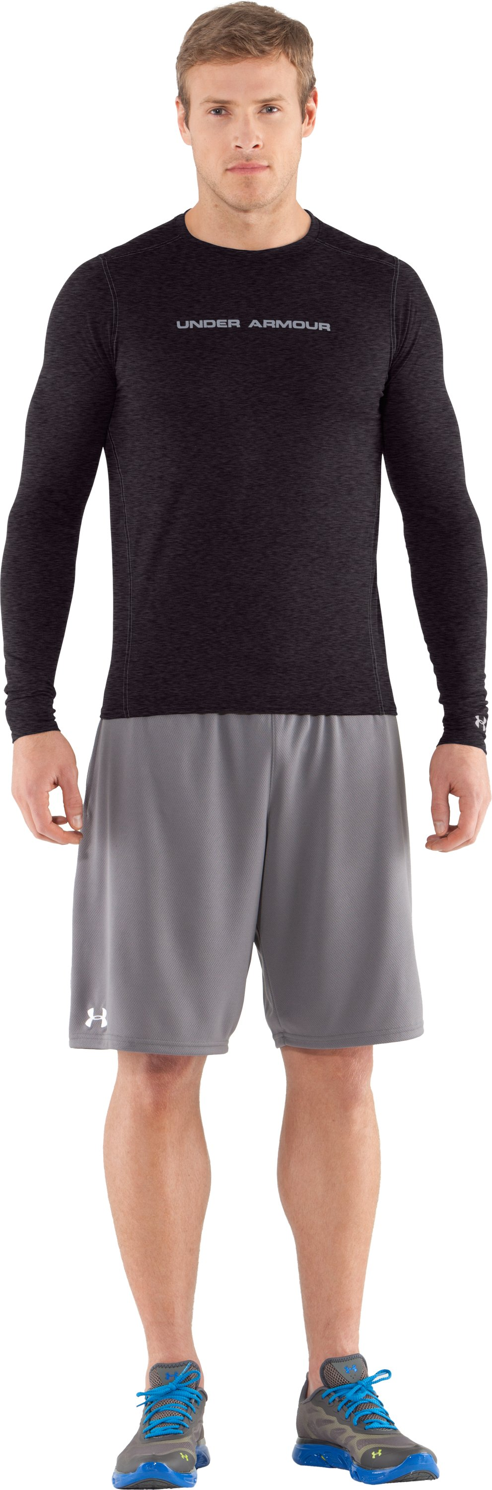 Men's UA HeatGear® Touch Fitted Long Sleeve Crew, Carbon Heather, Front