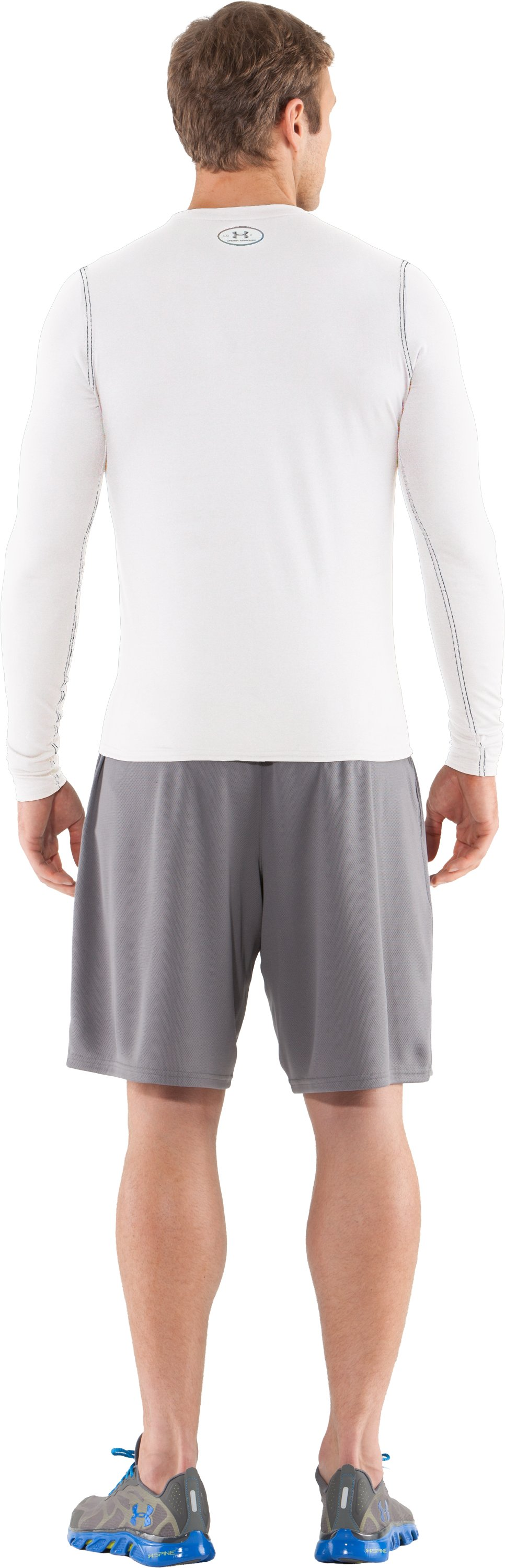 Men's UA HeatGear® Touch Fitted Long Sleeve Crew, White, Back