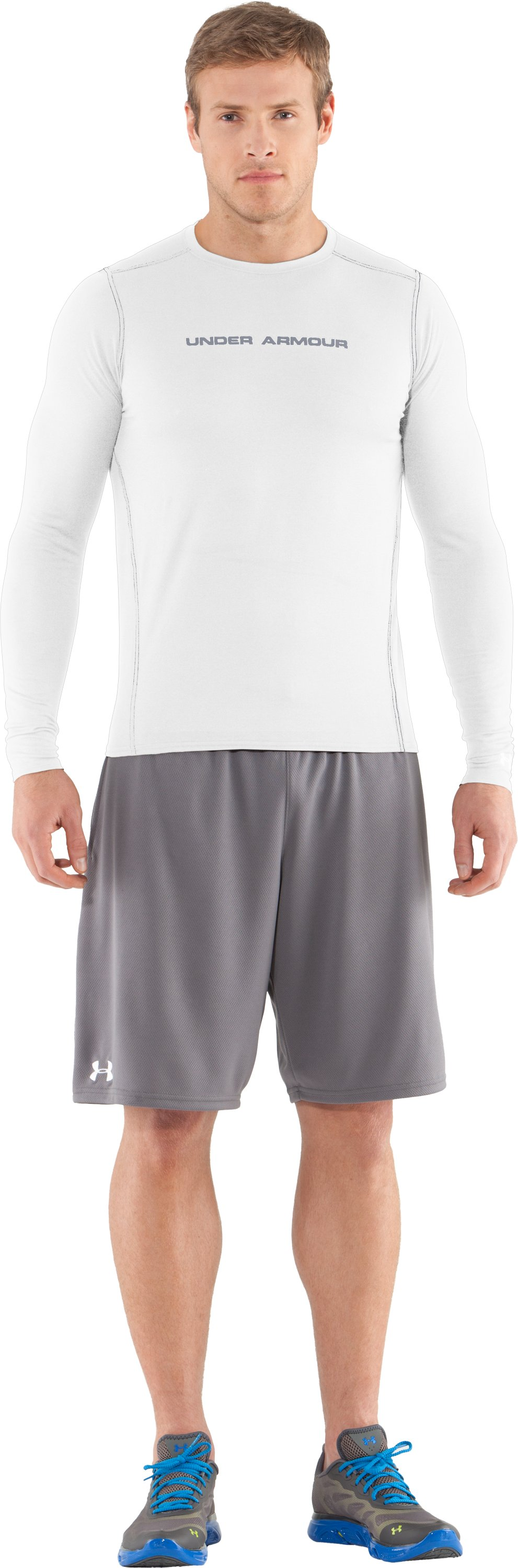 Men's UA HeatGear® Touch Fitted Long Sleeve Crew, White, Front