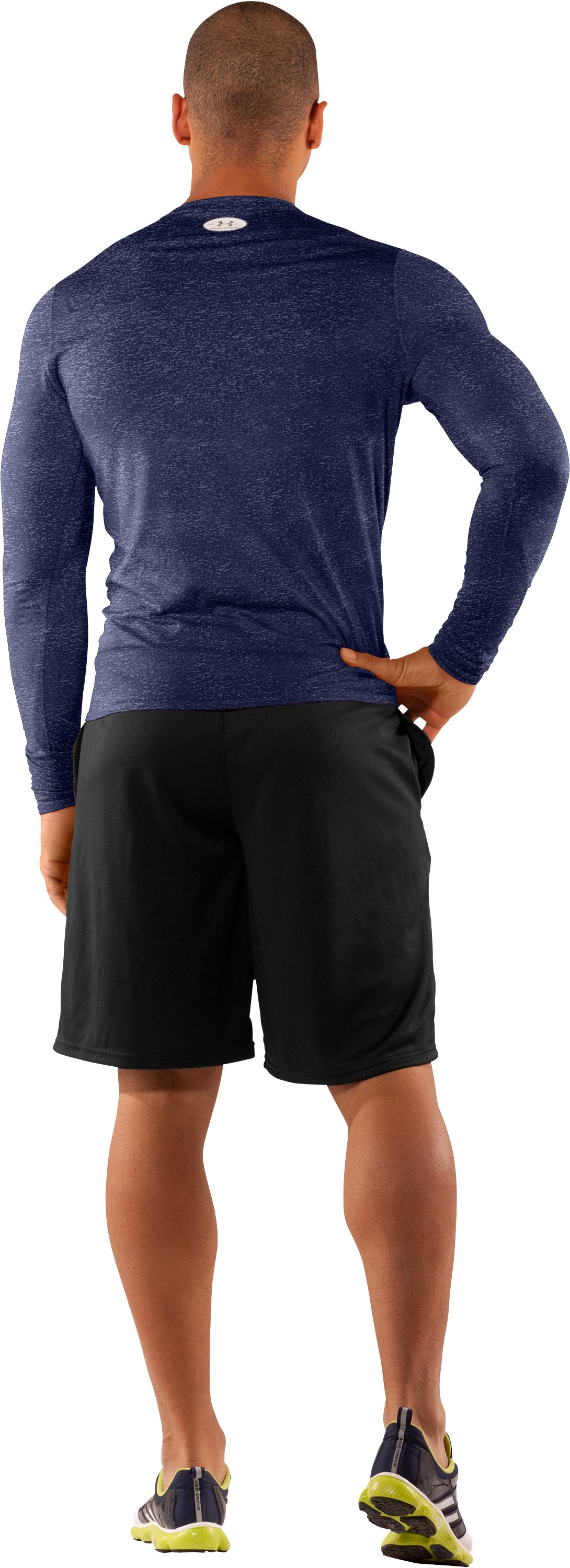 Men's UA HeatGear® Touch Fitted Long Sleeve Crew, Midnight Navy, Back