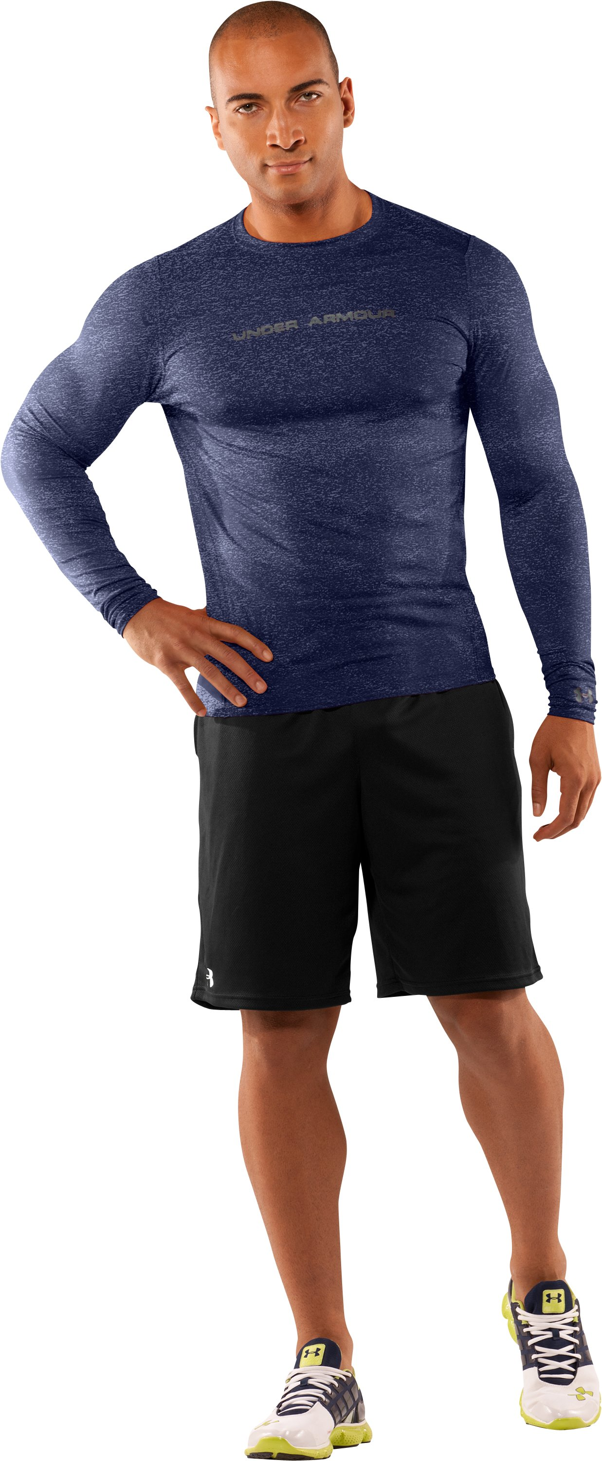 Men's UA HeatGear® Touch Fitted Long Sleeve Crew, Midnight Navy, Front