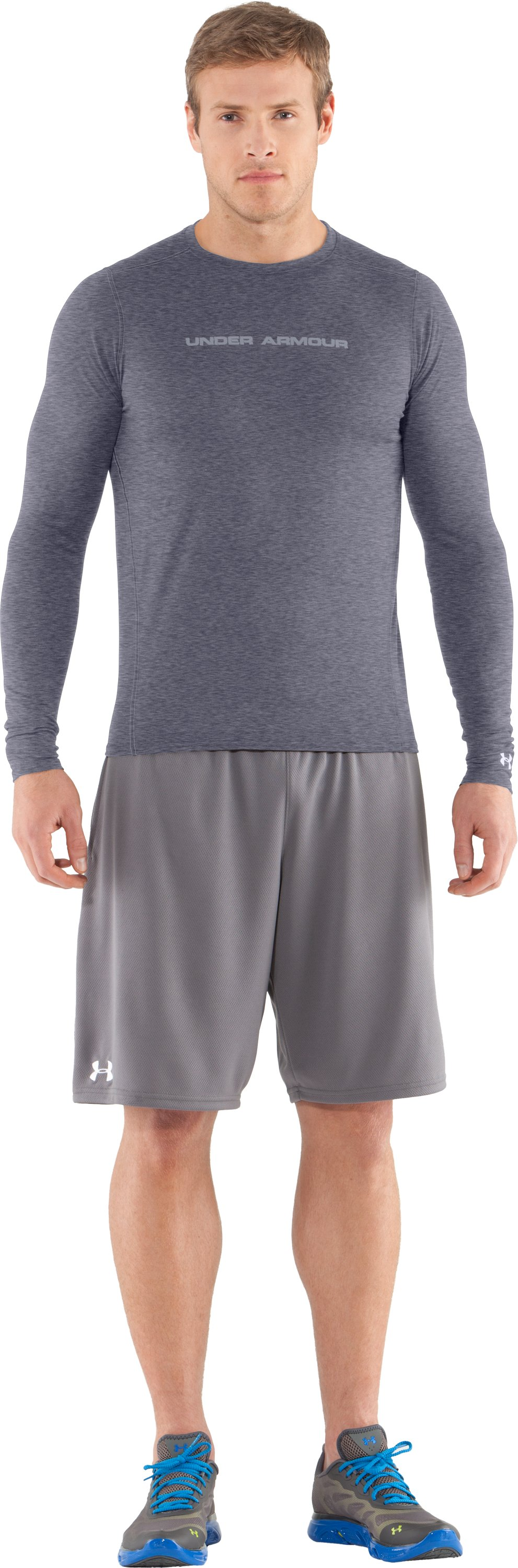 Men's UA HeatGear® Touch Fitted Long Sleeve Crew, Midnight Navy, zoomed image