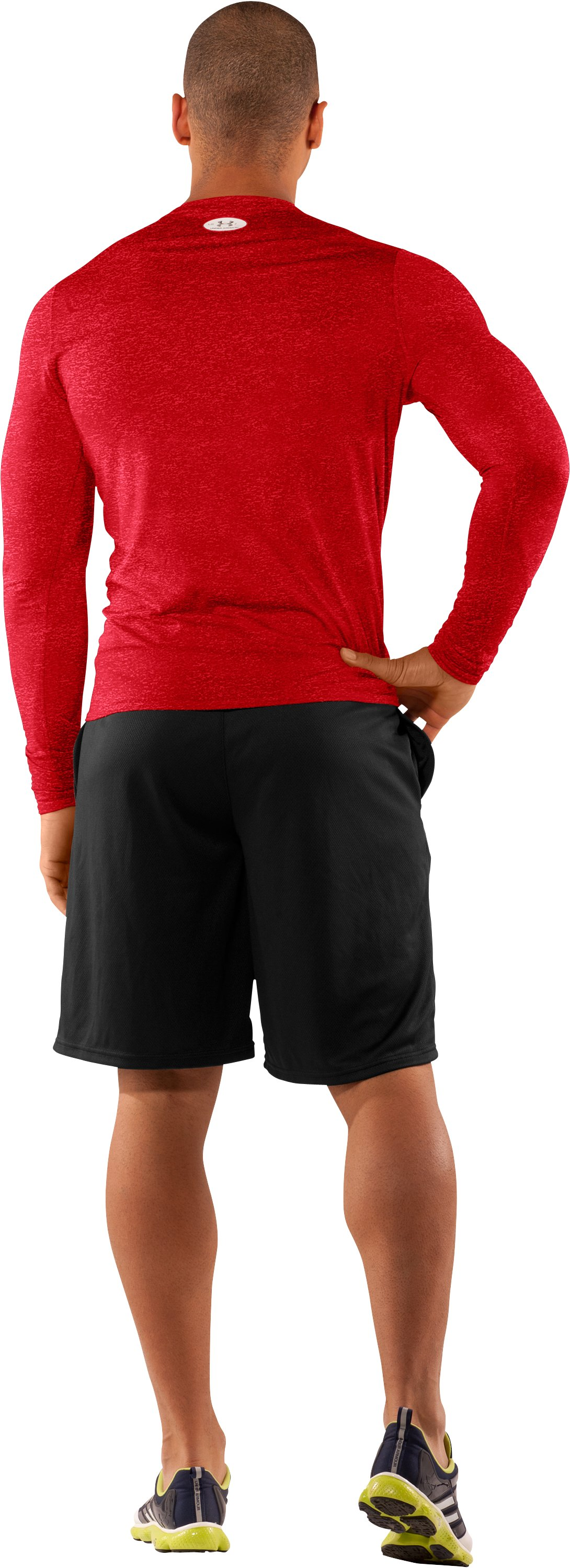 Men's UA HeatGear® Touch Fitted Long Sleeve Crew, Red, Back