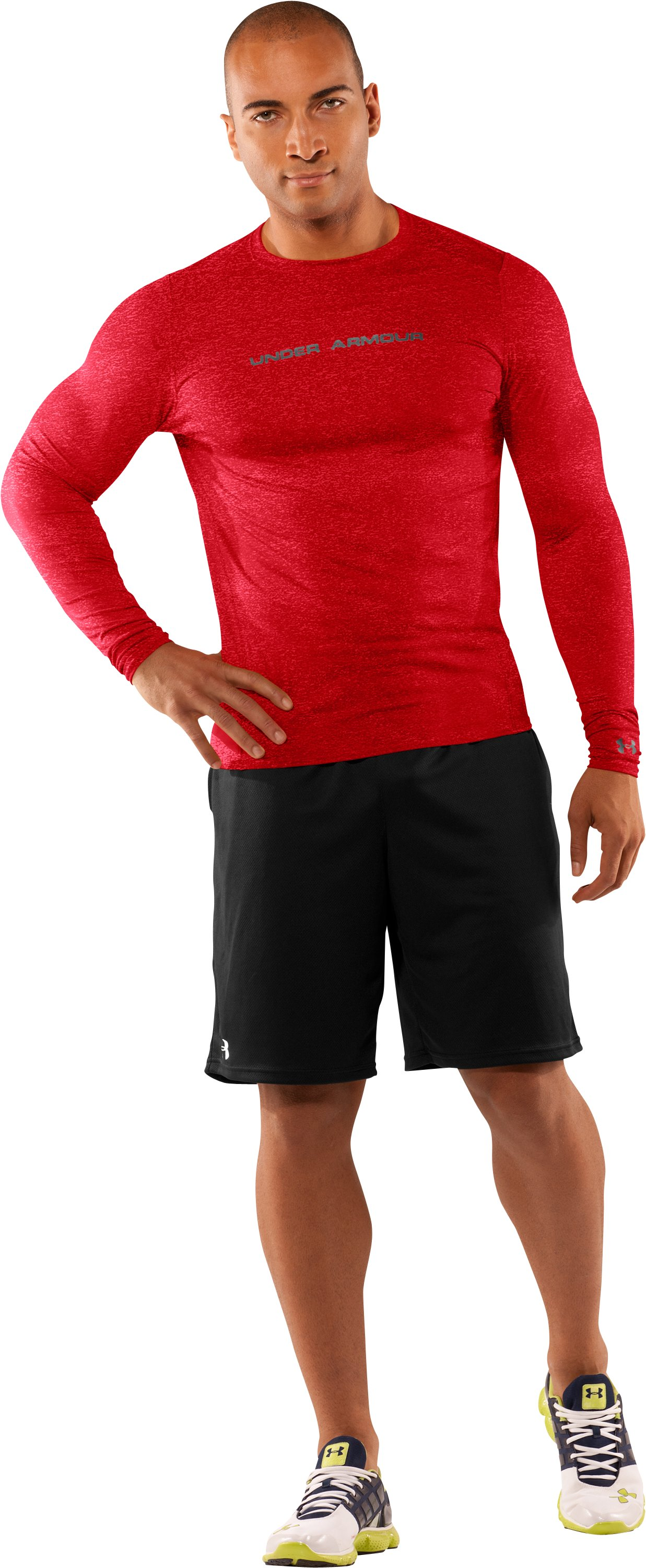 Men's UA HeatGear® Touch Fitted Long Sleeve Crew, Red, Front