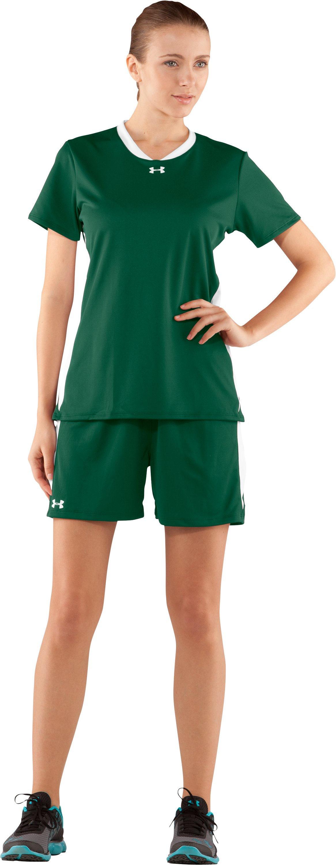 "Women's UA Clutch 5"" Shorts, Forest Green, Front"