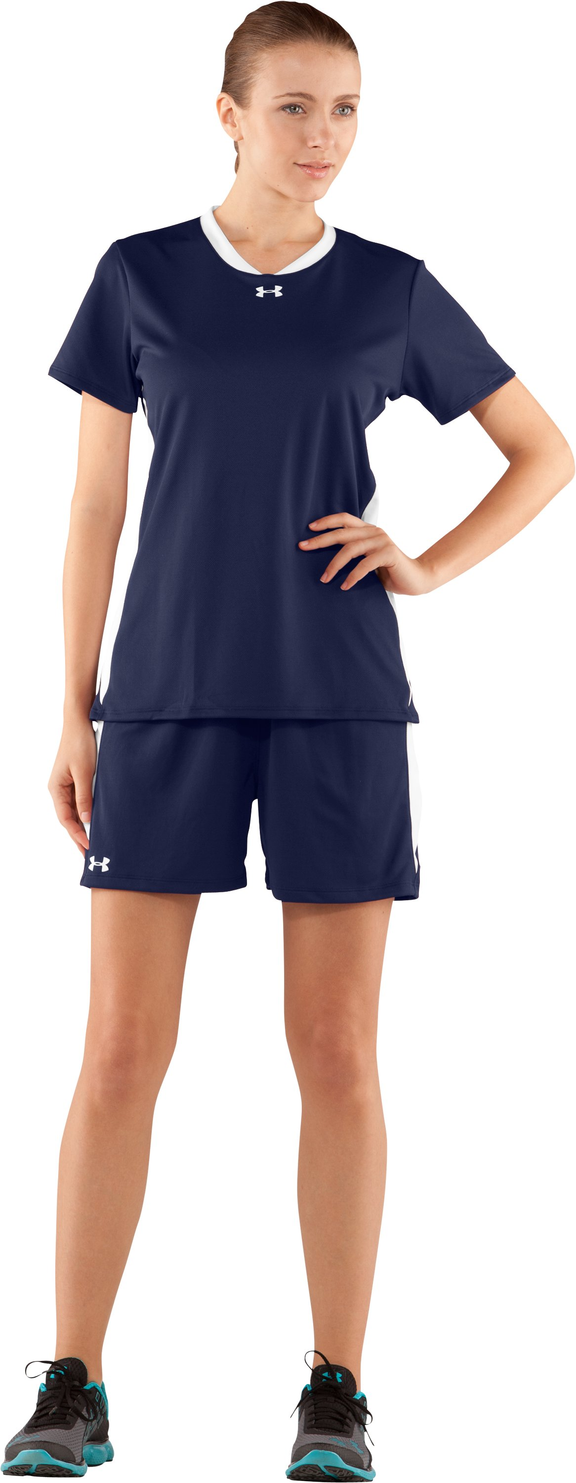 "Women's UA Clutch 5"" Shorts, Midnight Navy, Front"