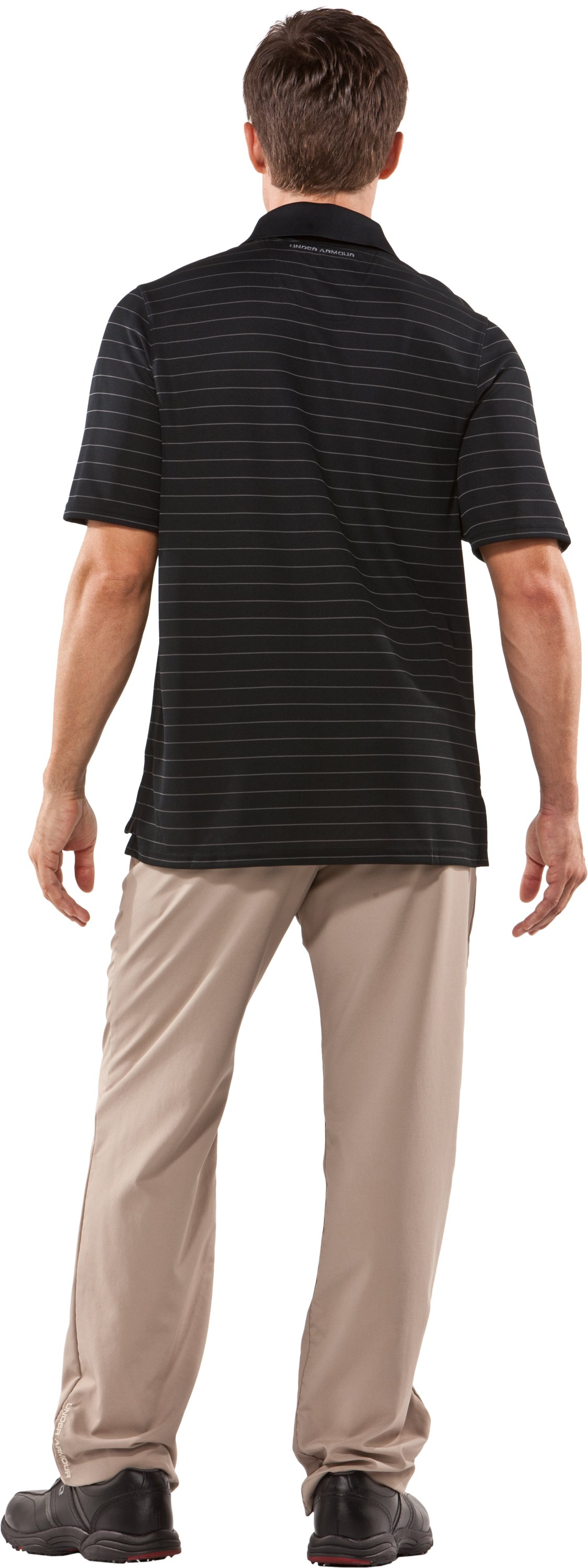 Men's UA Draw Striped Short Sleeve Polo, Black , Back