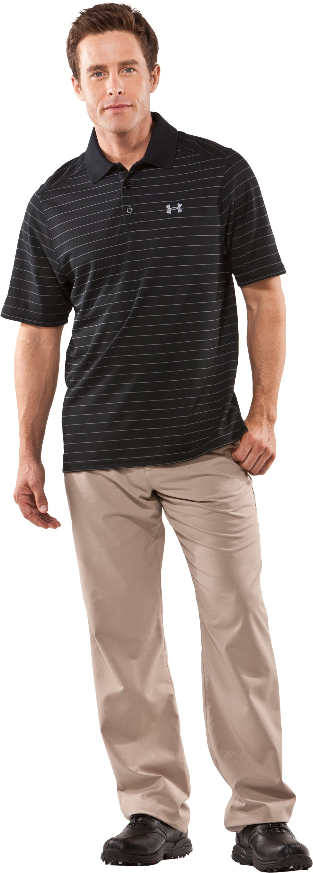 Men's UA Draw Striped Short Sleeve Polo, Black , Front