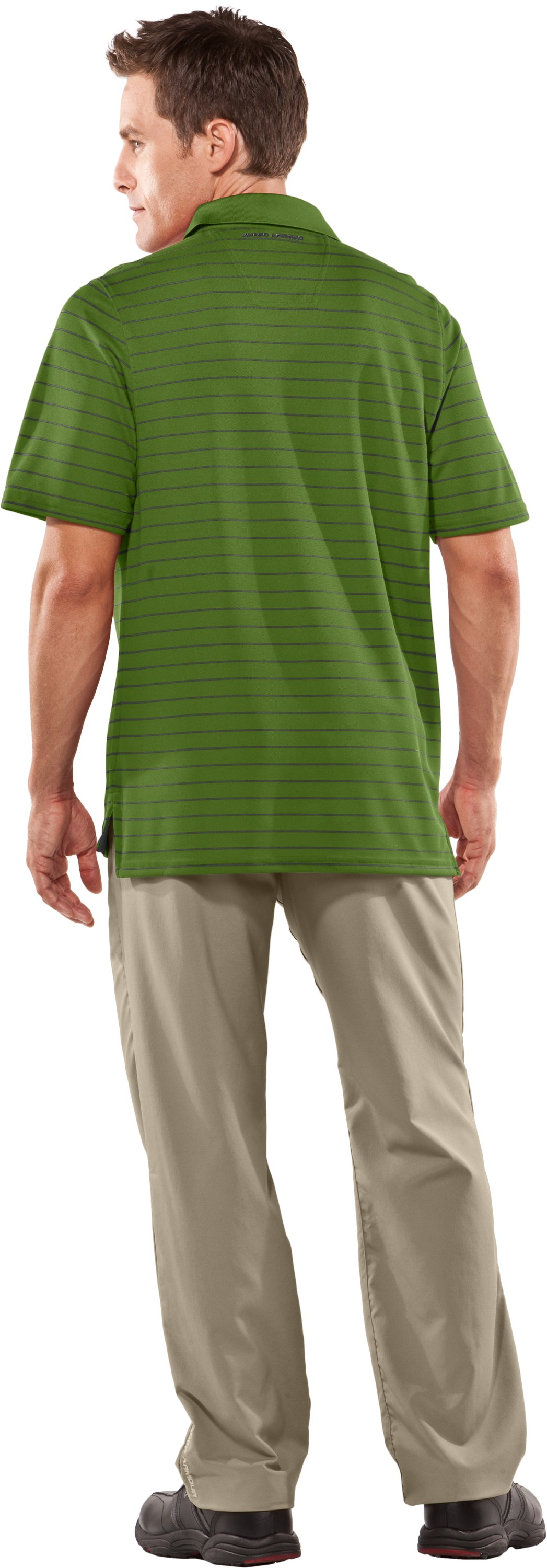 Men's UA Draw Striped Short Sleeve Polo, Surge, Back
