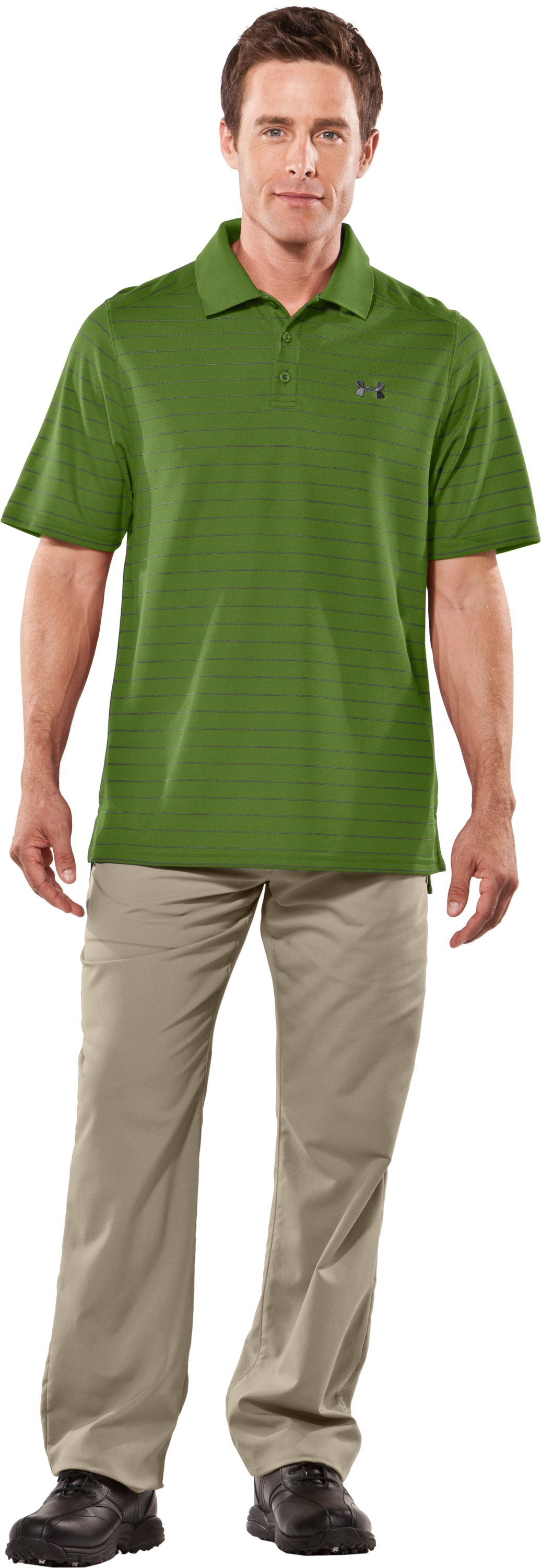 Men's UA Draw Striped Short Sleeve Polo, Surge, Front