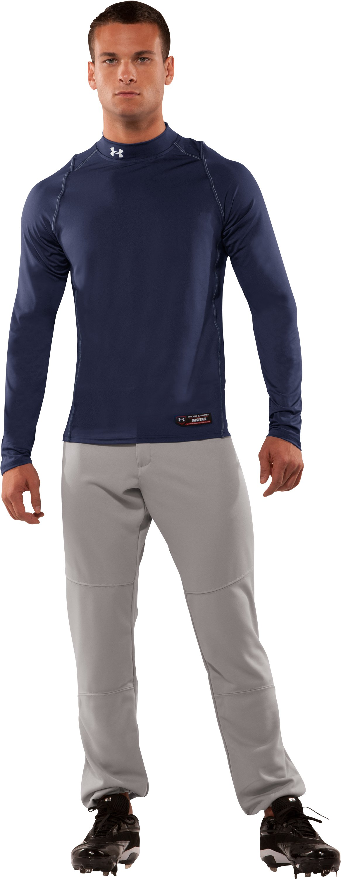 Men's UA Gameday Diamond Long Sleeve Mock, Midnight Navy, zoomed image