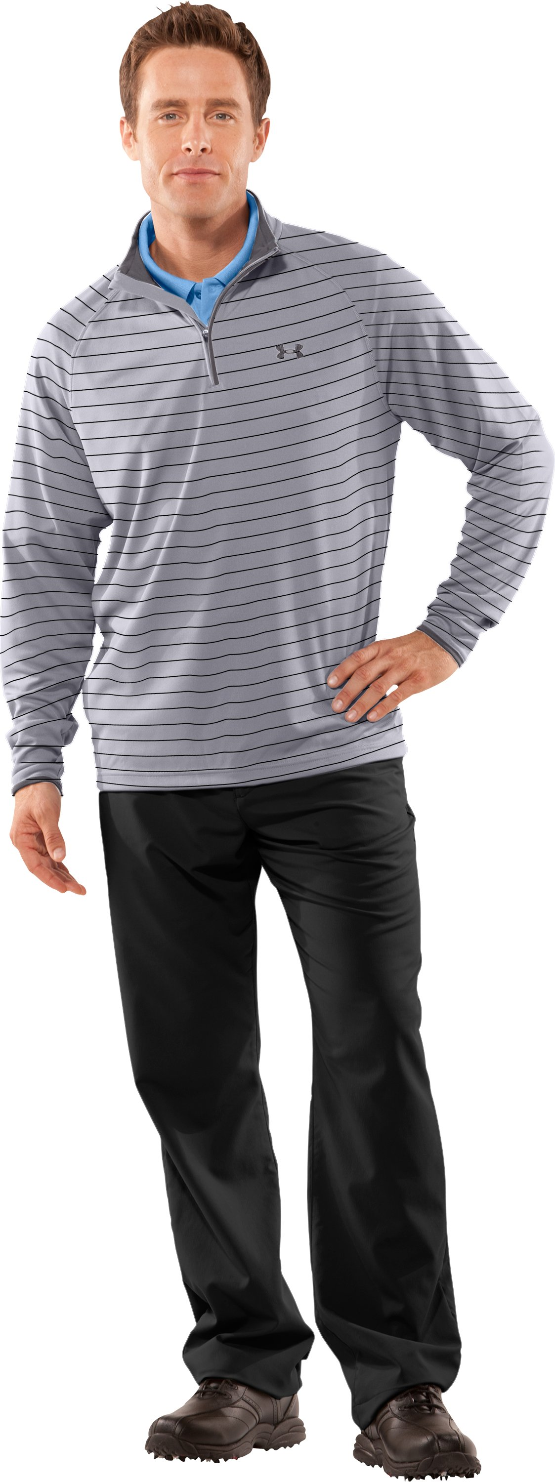 Men's UA Ace Golf ¼ Zip, Aluminum, Front