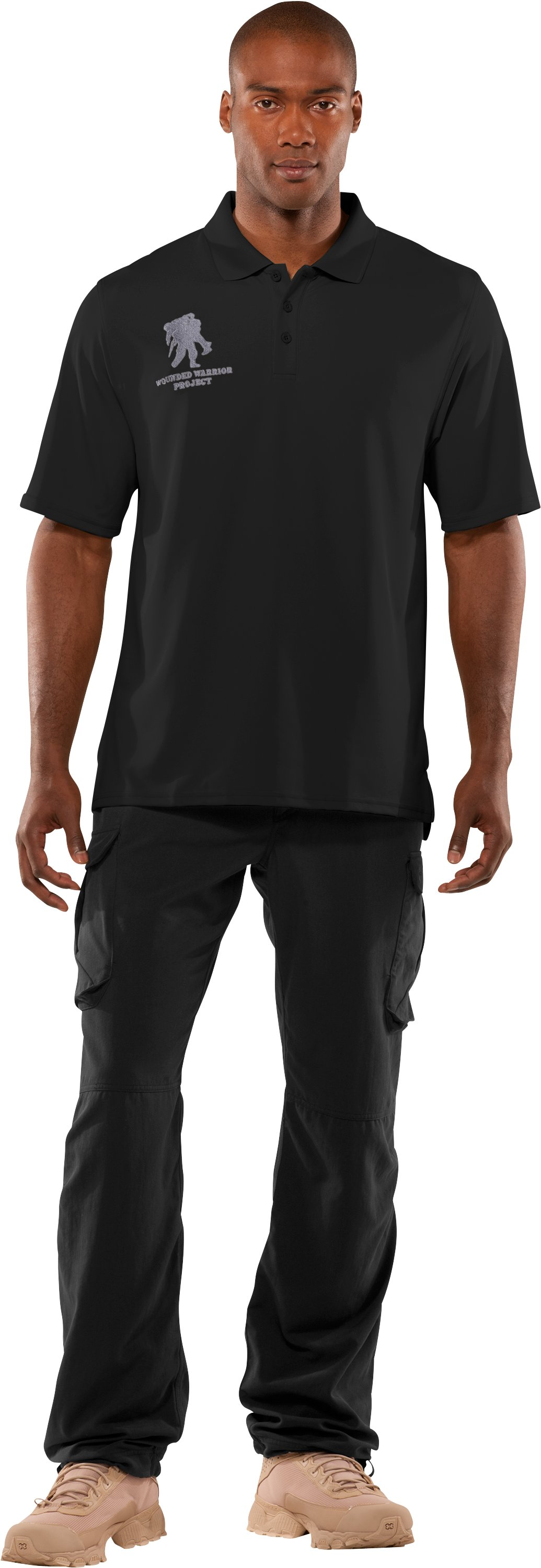 Men's WWP Polo, Black , Front
