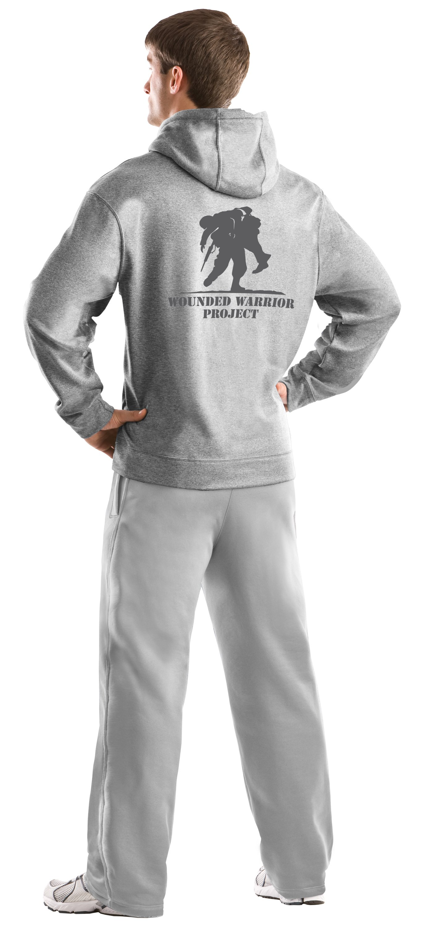 Men's WWP Hoodie, Medium Gray Heather, Back